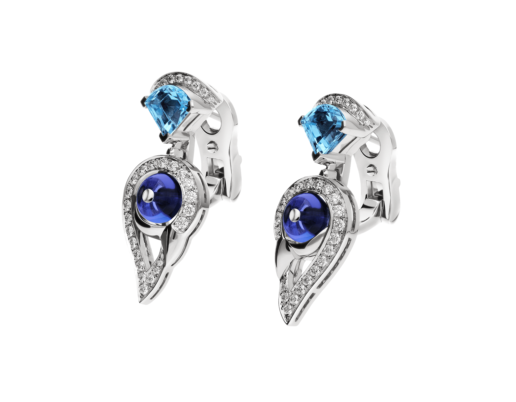 DIVAS' DREAM 18 kt white gold earrings set with coloured gemstones and pavé diamonds 355628 image 2