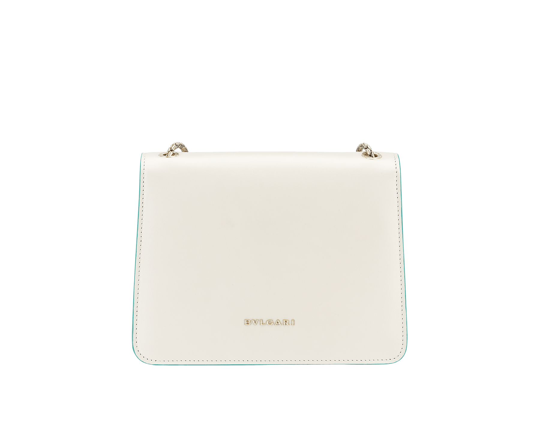 """Serpenti Forever"" crossbody bag in white agate calf leather with two arctic jade butterflies embroidered. Iconic snakehead closure in light gold plated brass enriched with arctic jade and white agate enamel and black onyx eyes. 289247 image 3"