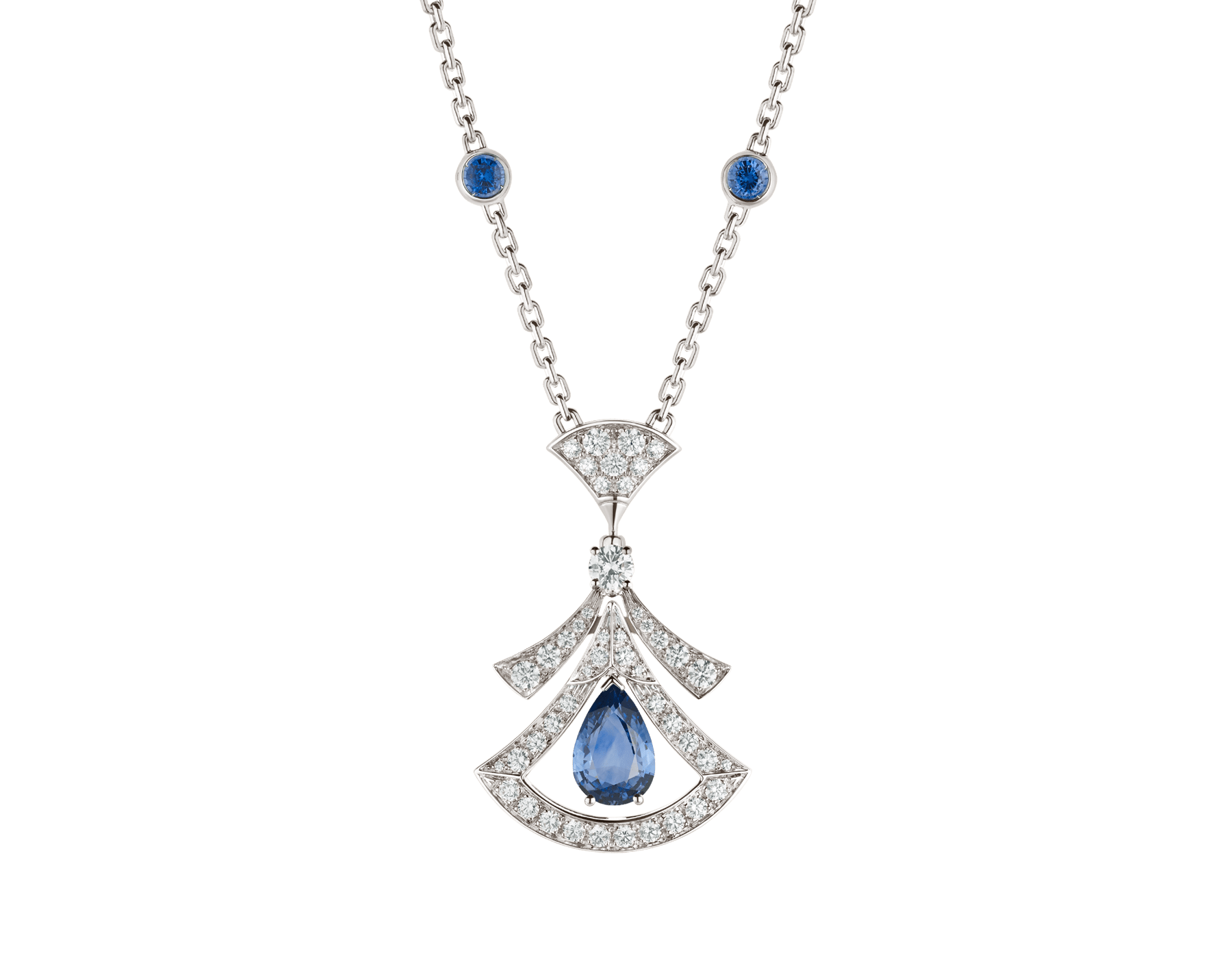 DIVAS' DREAM 18 kt white gold openwork necklace set with a pear-shaped sapphire, round brilliant-cut sapphires, a round brilliant-cut diamond and pavé diamonds. 357325 image 1
