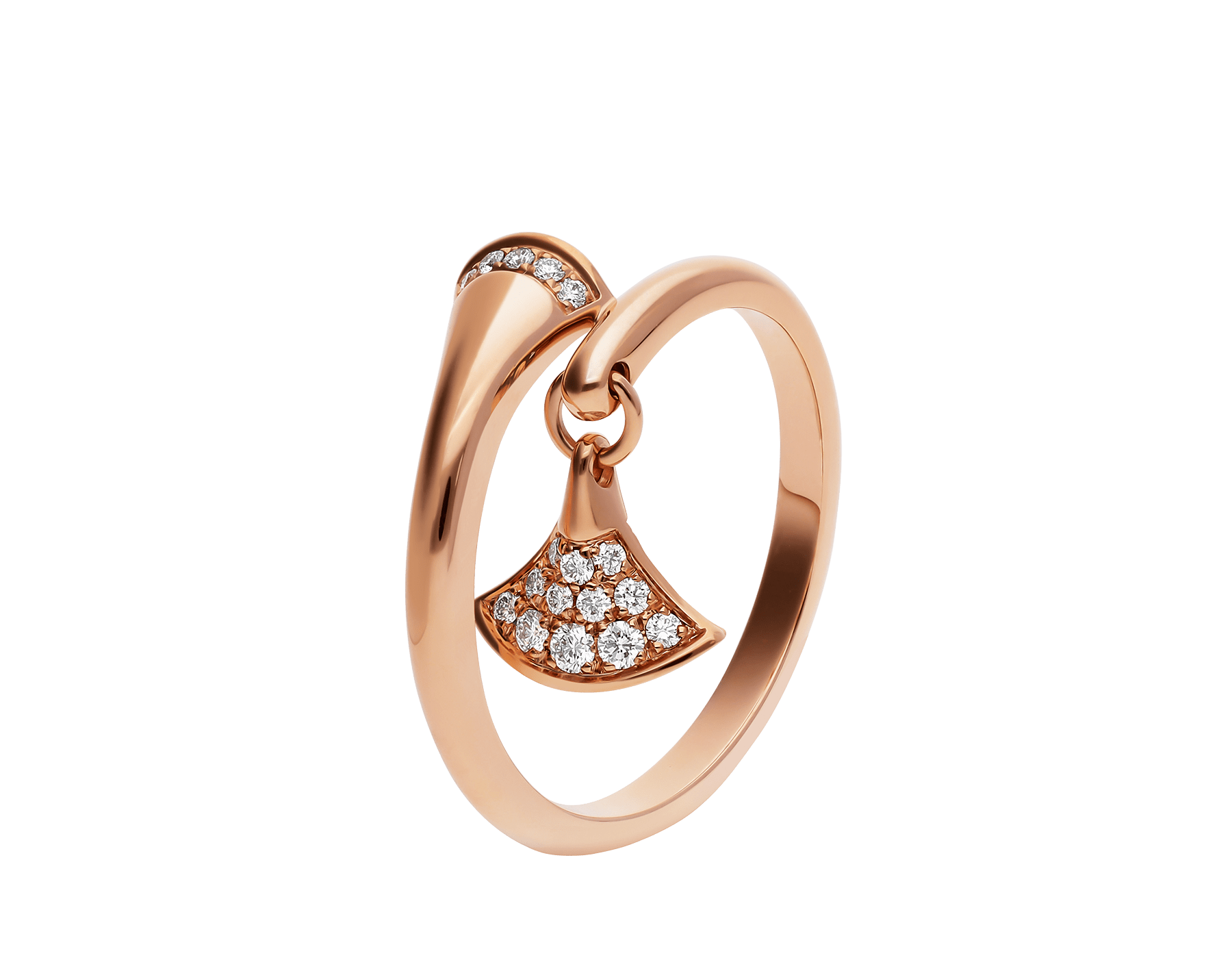 DIVAS' DREAM ring in 18 kt rose gold, set with pavé diamonds. AN857373 image 1