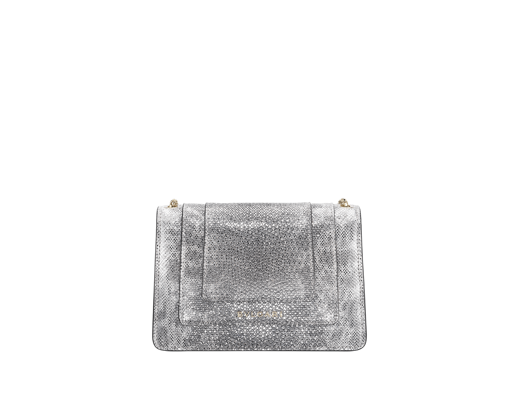 Serpenti Forever mini crossbody bag in white agate metallic karung skin. Brass light gold-plated snake head closure in black and white enamel with black onyx eyes. 986-MK image 3