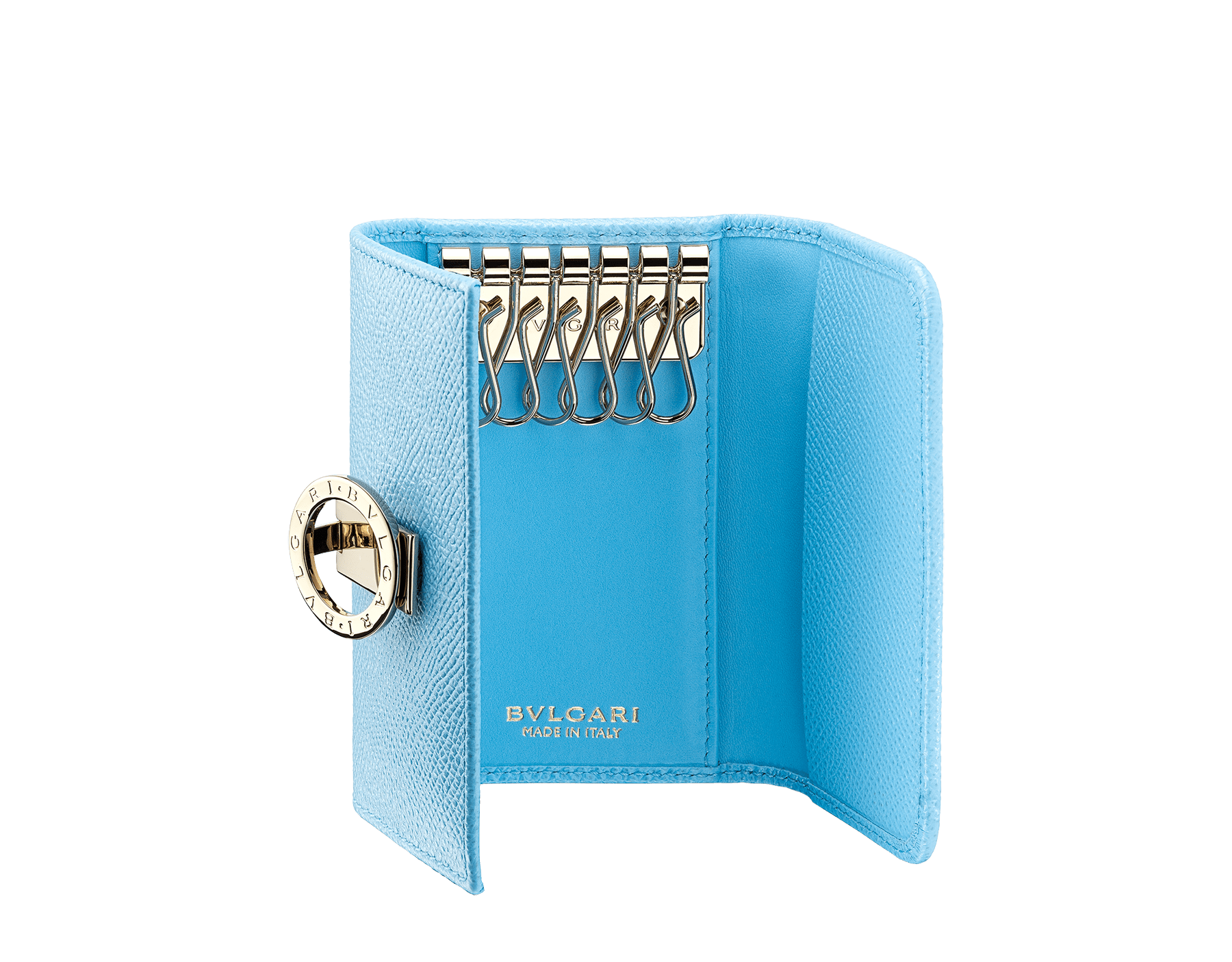 """BVLGARI BVLGARI"" small key holder in light, bright Aegean Topaz blue grained calfskin and light Aegean Topaz blue nappa leather. Iconic logo clip closure in light gold-plated brass. 579-KEYHOLDER-Sc image 2"