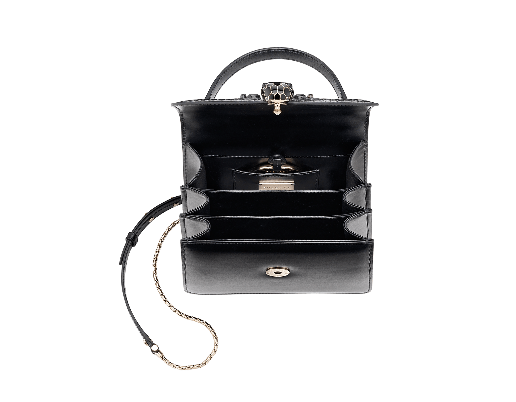"""Serpenti Forever "" crossbody bag in dark silver python skin flap with onyx scales applied and black smooth calf leather body. Iconic snake head closure in light gold plated brass enriched with black enamel and black onyx eyes. 289419 image 4"