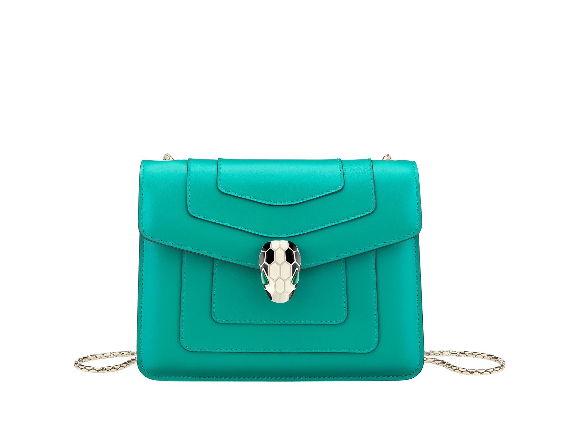 """Serpenti Forever"" crossbody bag in candy quartz calf leather. Iconic snakehead closure in light gold plated brass enriched with black and white enamel and green malachite eyes 422-CLe image 1"