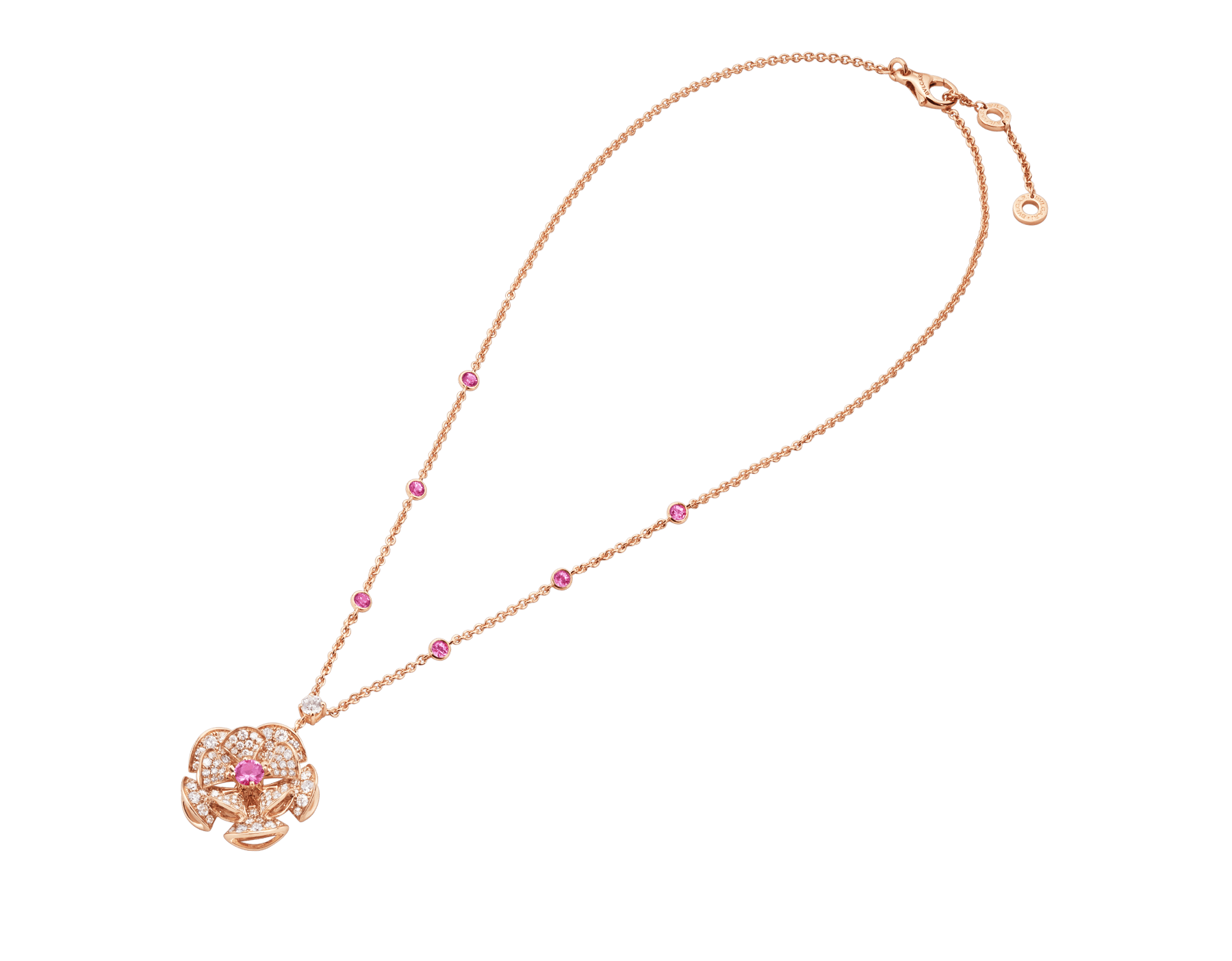 DIVAS' DREAM necklace in 18 kt rose gold with chain set with pink sapphires and a diamond, and with a pendant set with a central pink sapphire and pavé diamonds. 352628 image 2