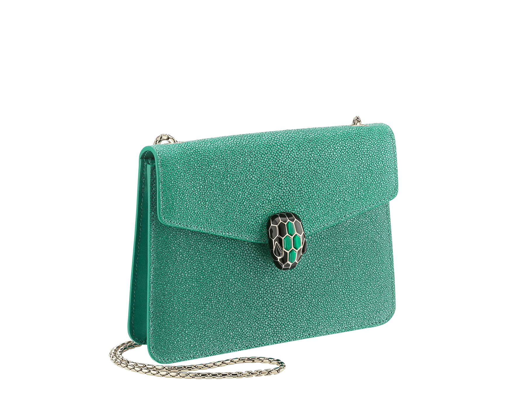 """Serpenti Forever"" crossbody bag in emerald green galuchat skin. Iconic snake head closure in light gold plated brass enriched with black enamel, malachite scales and black onyx eyes. 289021 image 2"