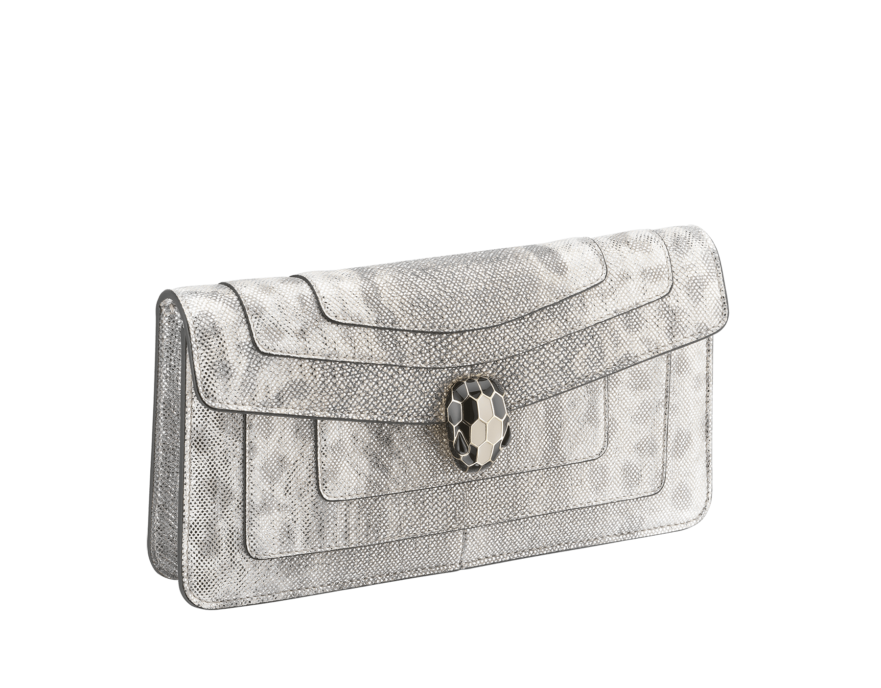 """Serpenti Forever"" shoulder bag in crystal rose metallic karung skin. Iconic snakehead closure in light gold plated brass enriched with black and glitter bronze enamel and black onyx eyes 486-MK image 2"