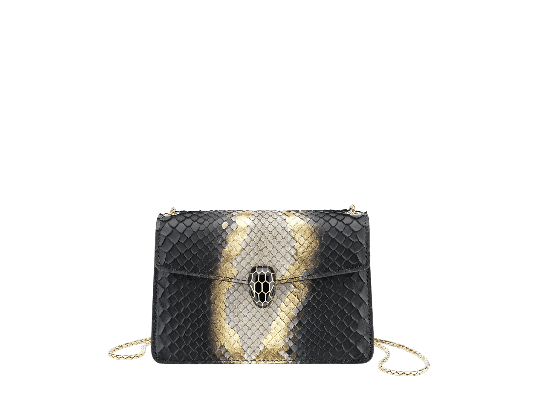Serpenti Forever mini crossbody bag in black and gold Goldthunder python skin. Brass light gold plated snake head closure in black enamel, with black onyx eyes. 288102 image 1