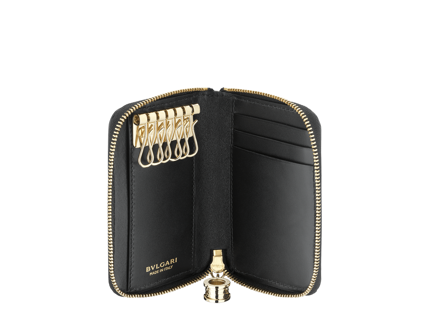 """""""B.ZERO1"""" zipped key holder in black and white agate goatskin and black calf leather. Iconic pendant in light gold plated brass. BZA-KEYHOLDERZIP image 2"""