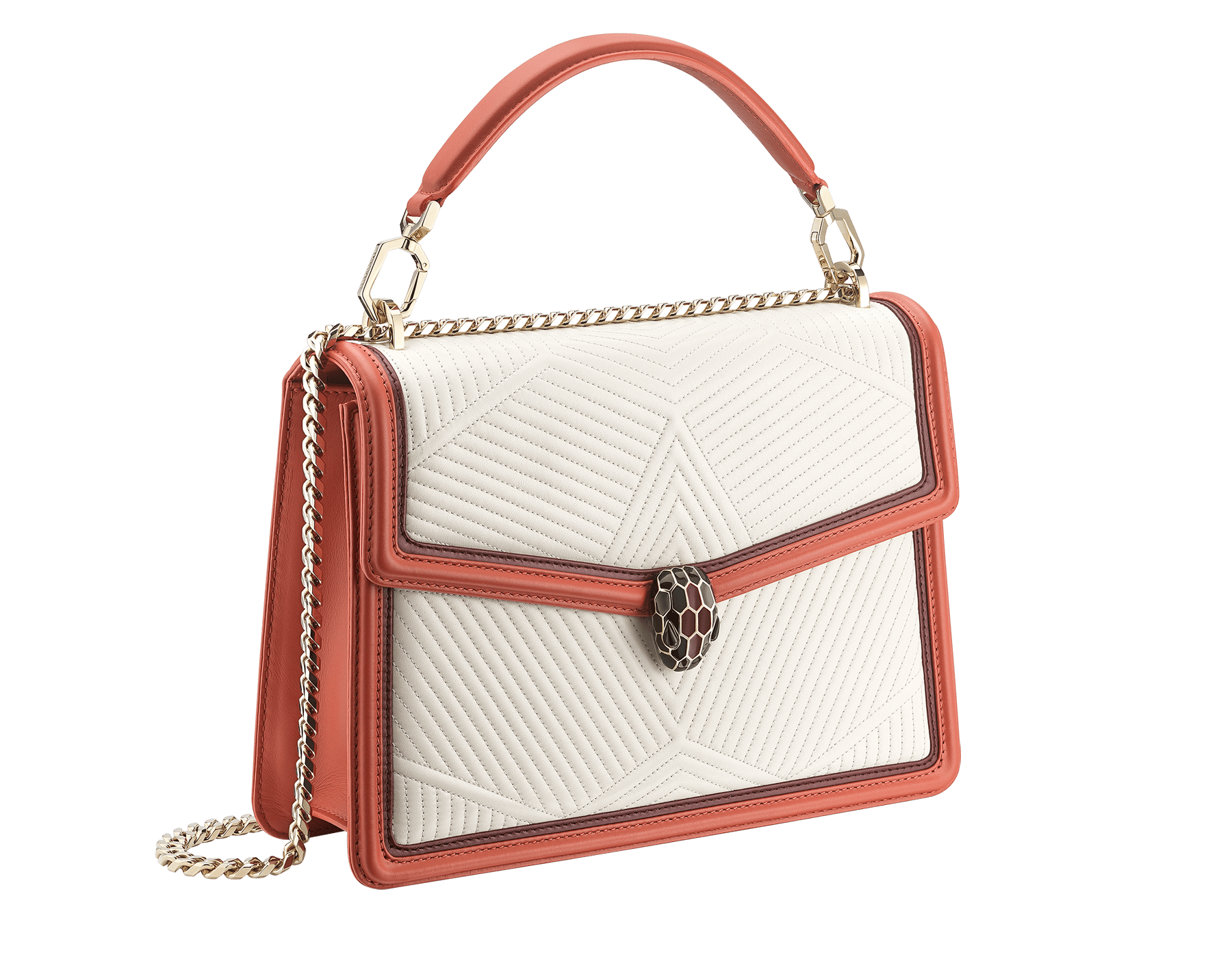 Serpenti Diamond Blast shoulder bag in white agate quilted nappa leather and imperial topaz with Roman garnet calf leather frames. Iconic snakehead closure in light gold plated brass embellished with Roman garnet and black enamel and black onyx eyes. 288840 image 3