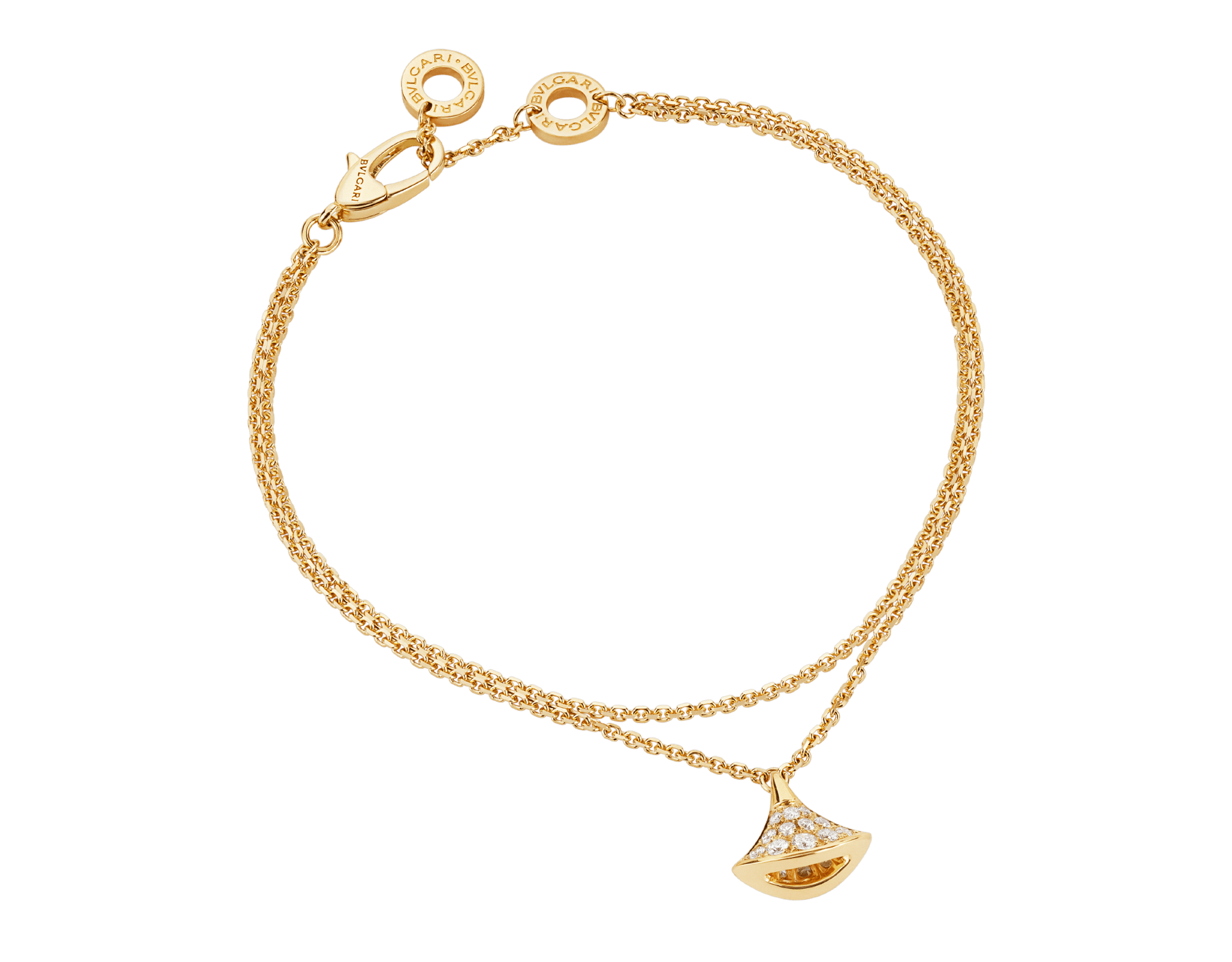 DIVAS' DREAM 18 kt yellow gold bracelet with pendant in full pavé diamonds BR858990 image 1