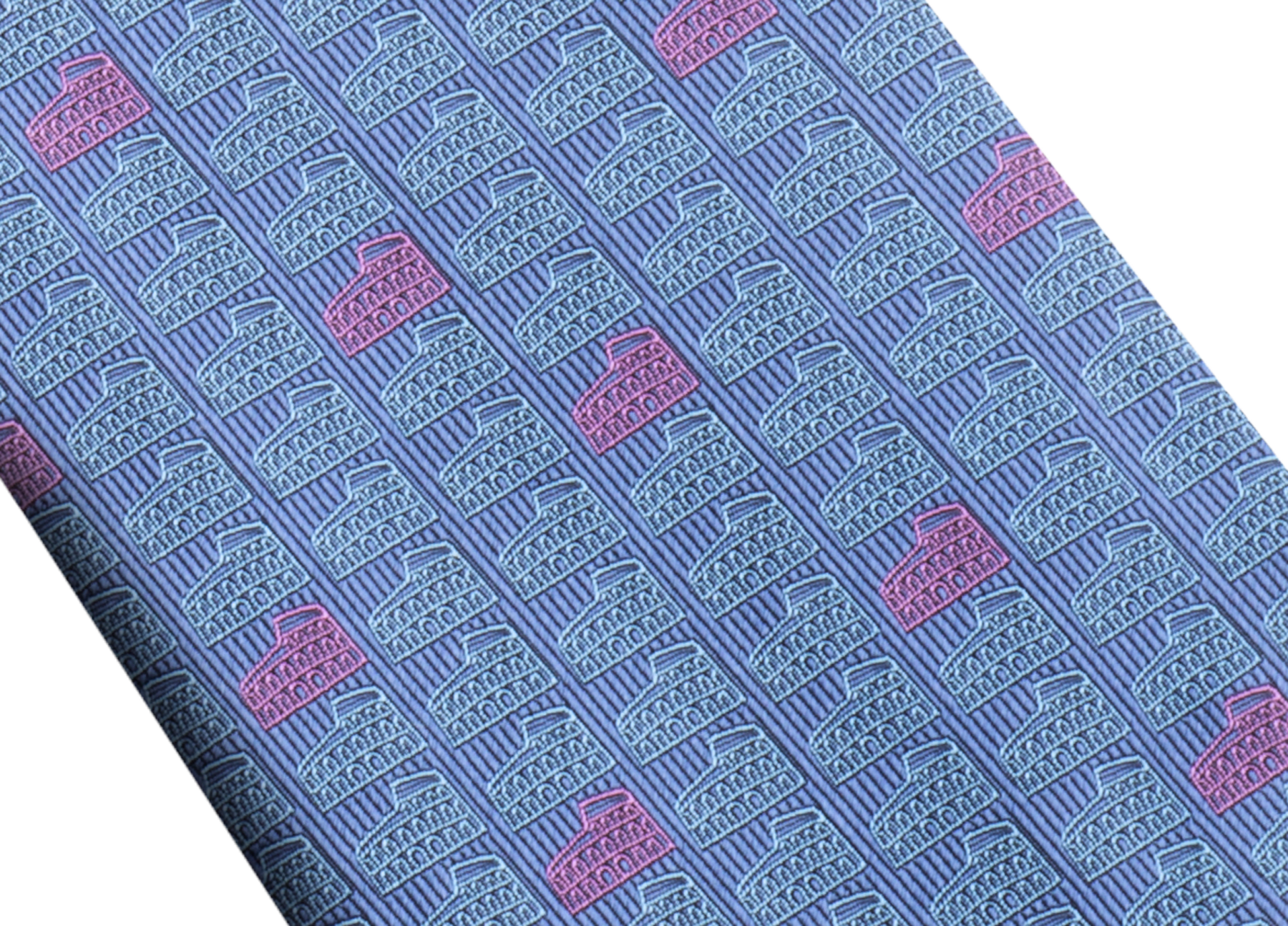 Gravata azul com padrão Double Roma em fina seda. 243729 image 2