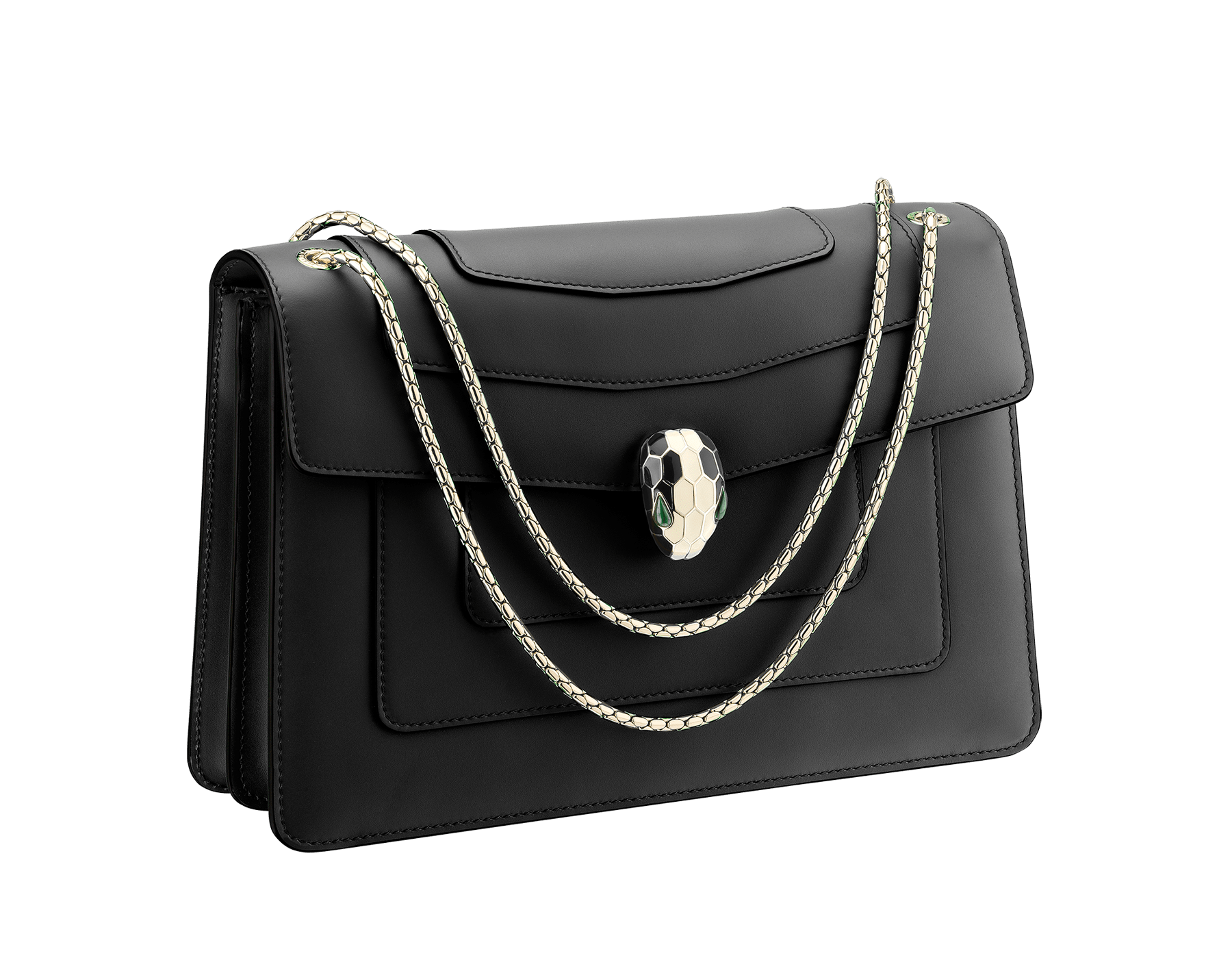 Black calf leather shoulder bag with brass light gold plated black and white enamel Serpenti head closure with malachite eyes. 521-CLa image 2