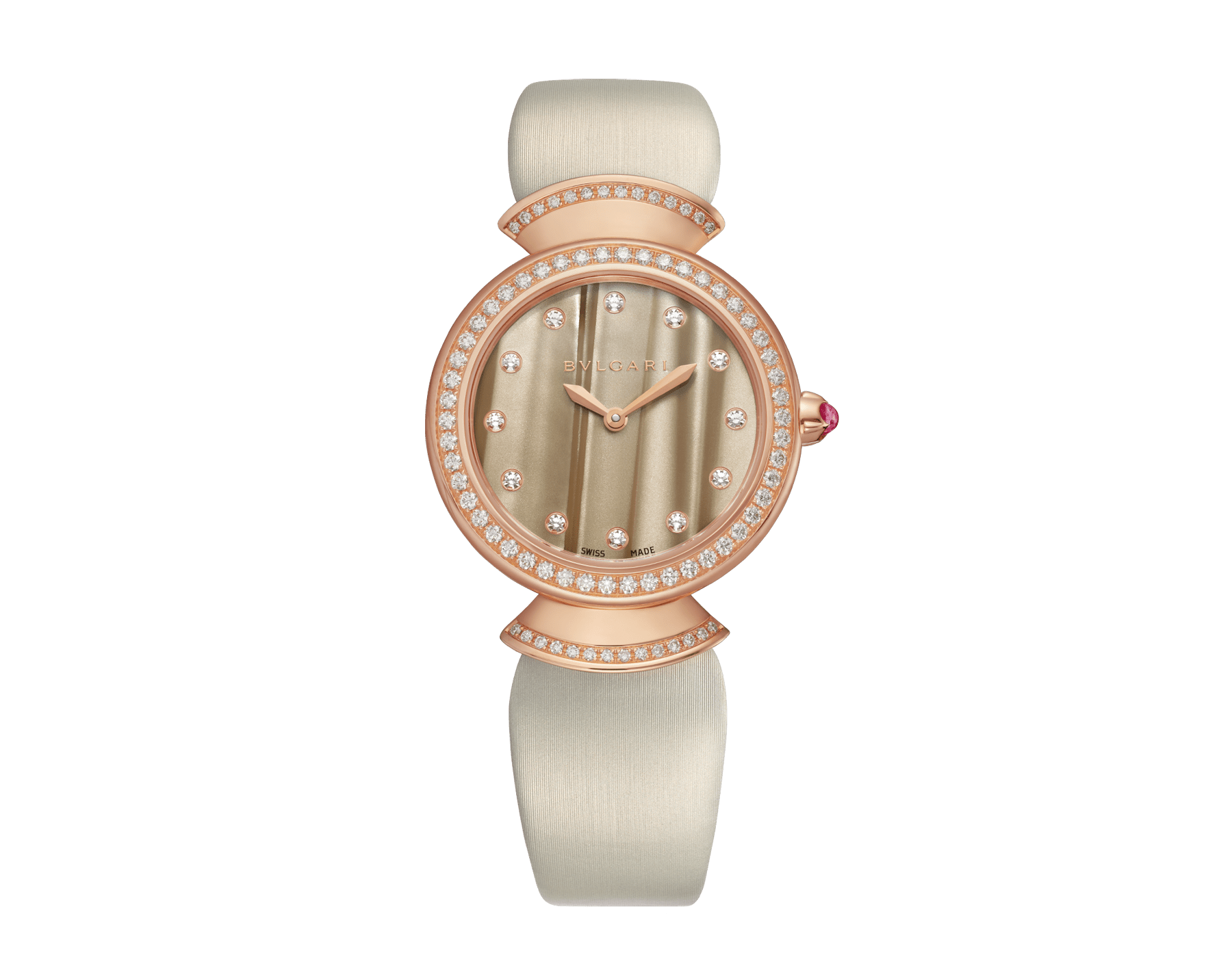 Montre DIVAS' DREAM avec boîtier en or rose 18 K serti de diamants taille brillant, cadran en acétate naturel, index sertis de diamants et bracelet en satin couleur bronze 102435 image 1