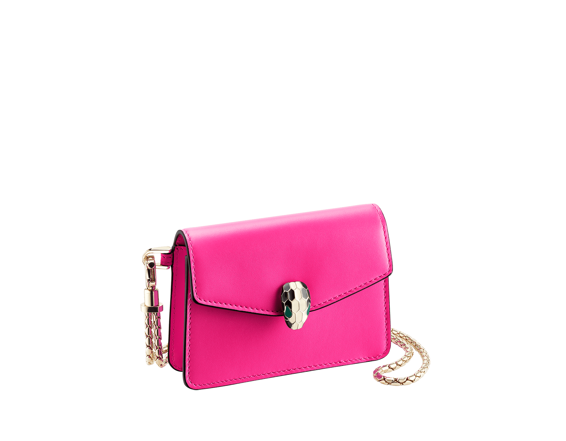 Serpenti Forever neck credit card holder in flash amethyst calf leather. Iconic snake head closure in black and white enamel, with green enamel eyes. 289396 image 1