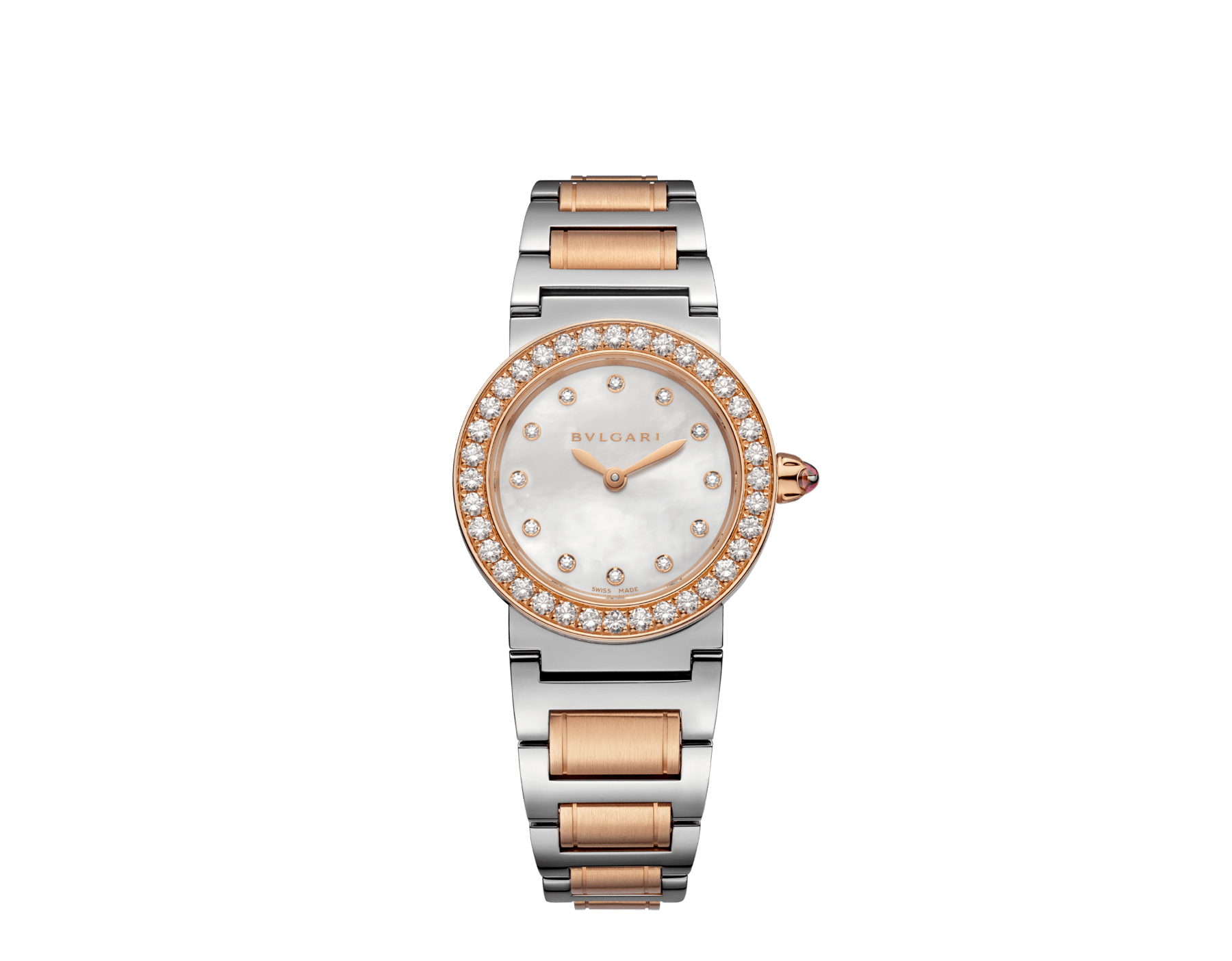 The BVLGARI BVLGARI watch has a stainless steel case, 18 kt rose gold bezel set with diamonds, white mother-of-pearl dial set with diamond indices and a stainless steel and 18 kt rose gold bracelet. 102477 image 1