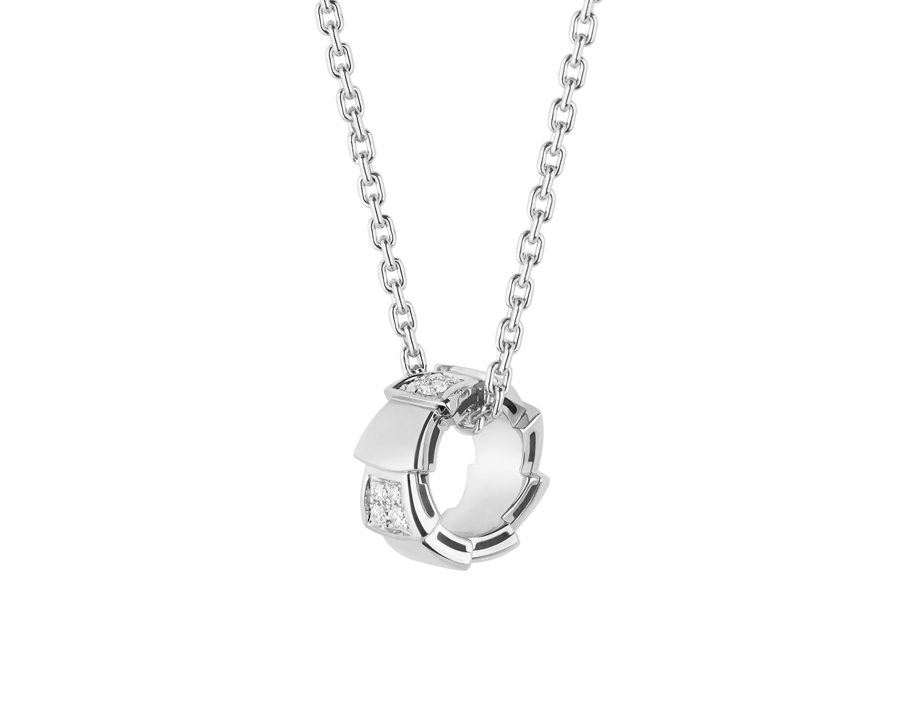 Serpenti Viper necklace with 18 kt white gold chain and 18 kt white gold pendant set with demi pavé diamonds.(0.21 ct) 355255 image 1