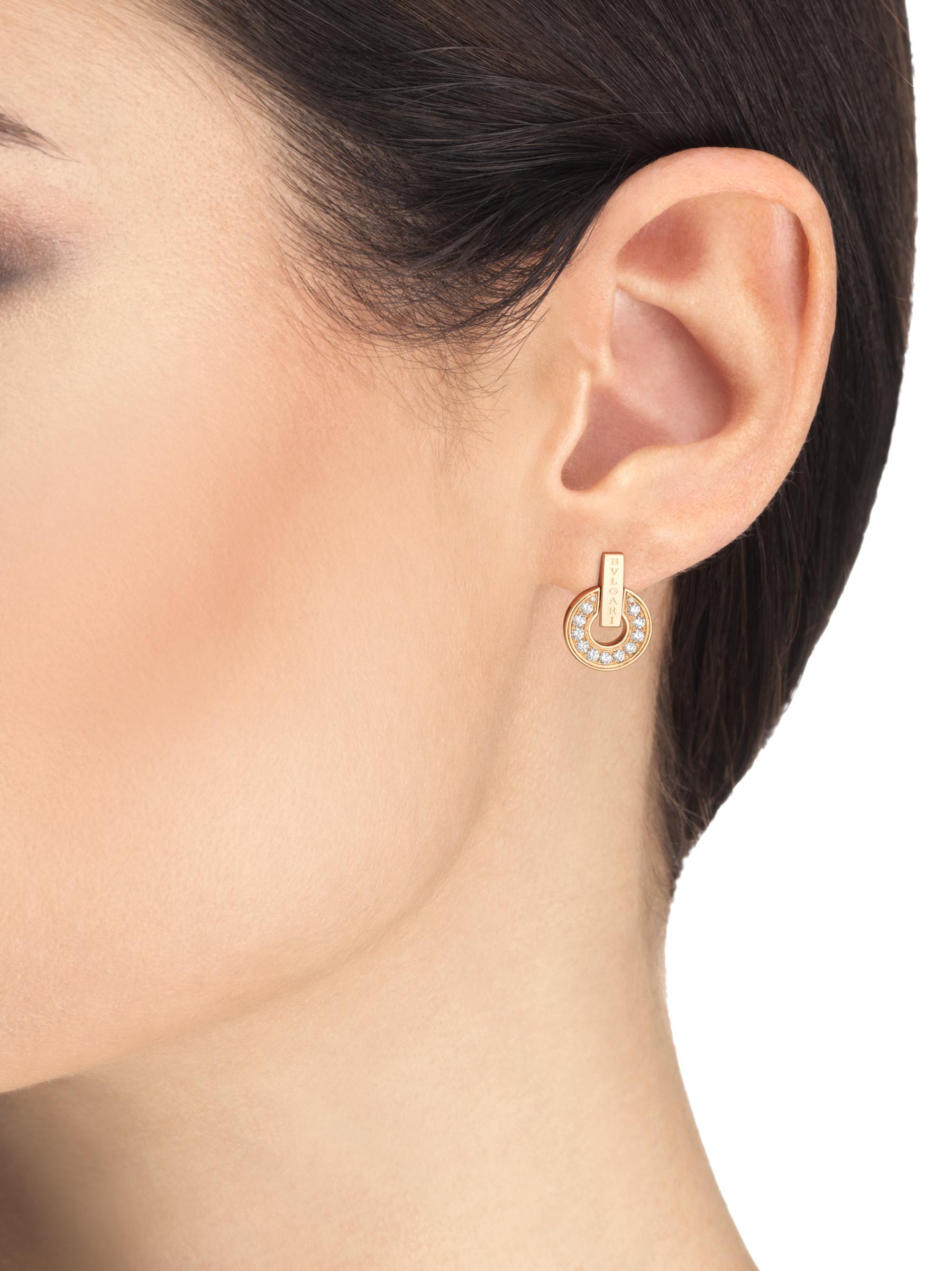 BVLGARI BVLGARI Openwork 18 kt rose gold earrings set with full pavé diamonds 357318 image 4