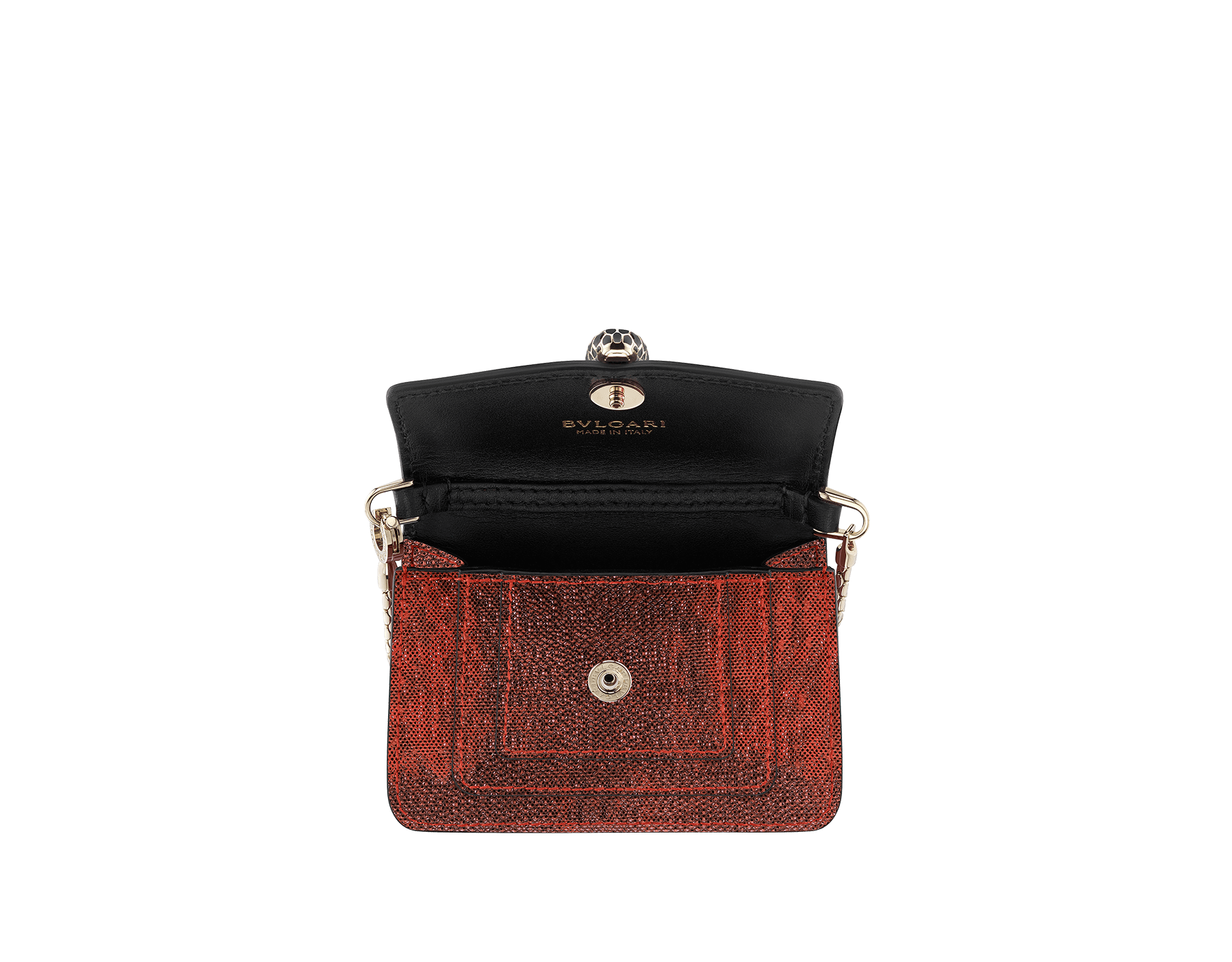 Bag charm Serpenti Forever miniature in ruby red metallic karung skin, with black calf leather lining. Iconic brass light gold plated snakehead stud closure in black and glitter red enamel, with black enamel eyes 287433 image 2
