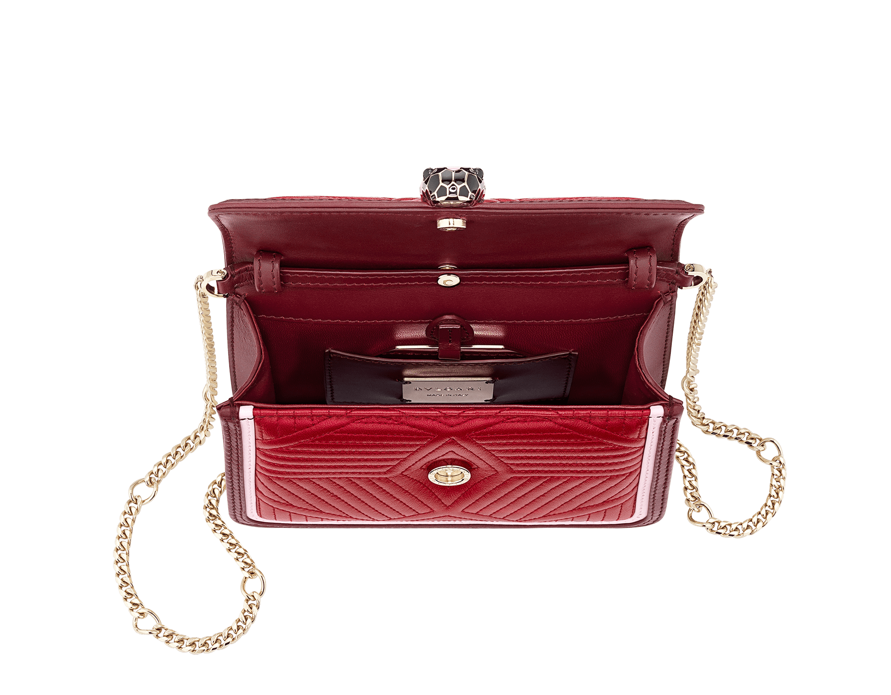 """""""Serpenti Diamond Blast"""" crossbody micro bag in ruby red quilted nappa leather body and Roman garnet calf leather frames. Iconic snakehead closure in light gold plated brass enriched with black and rosa di francia enamel and black onyx eyes. 288845 image 4"""