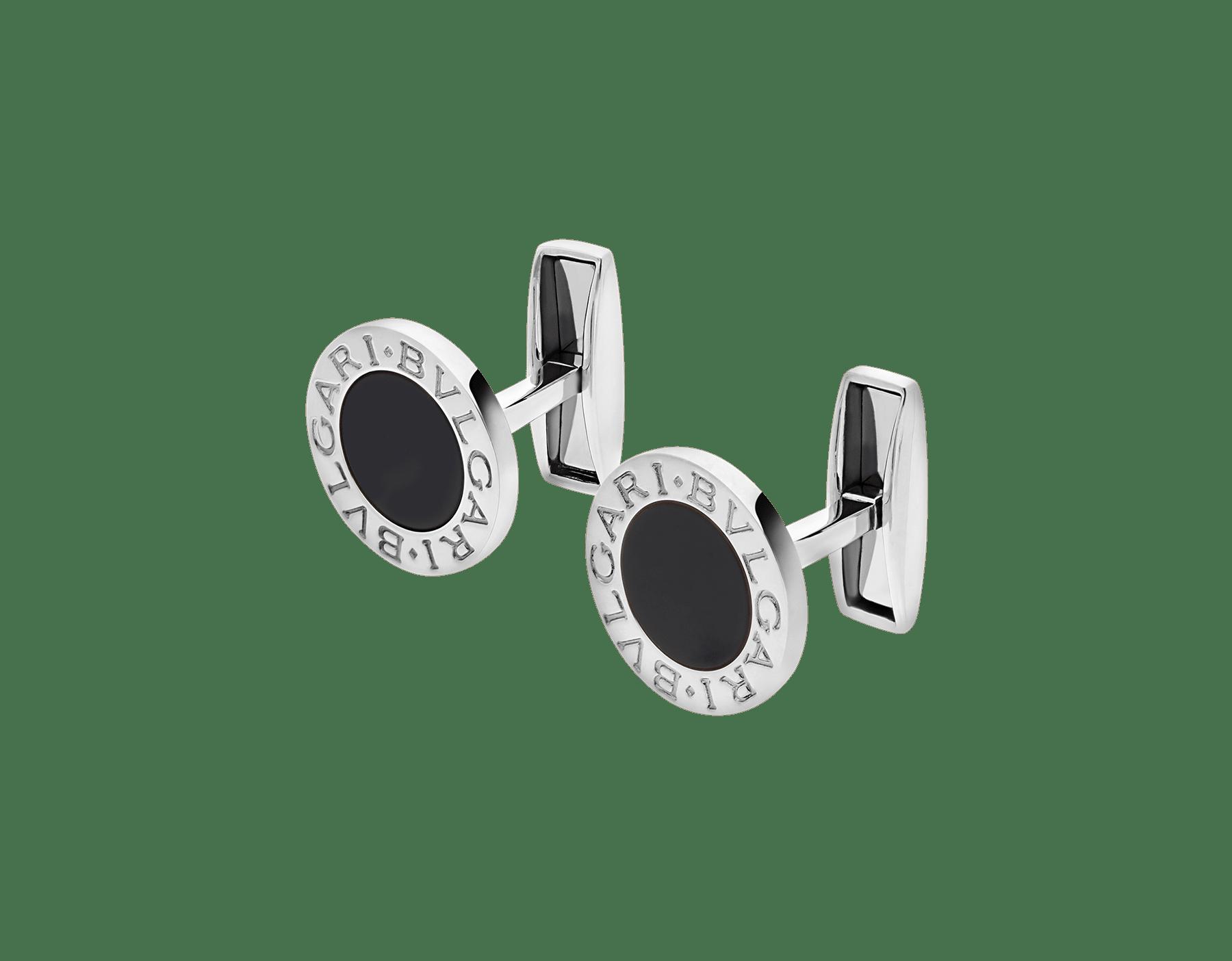 Abotoaduras BVLGARIBVLGARI em prata de lei cravejadas com elementos de ônix preto 322288 image 2