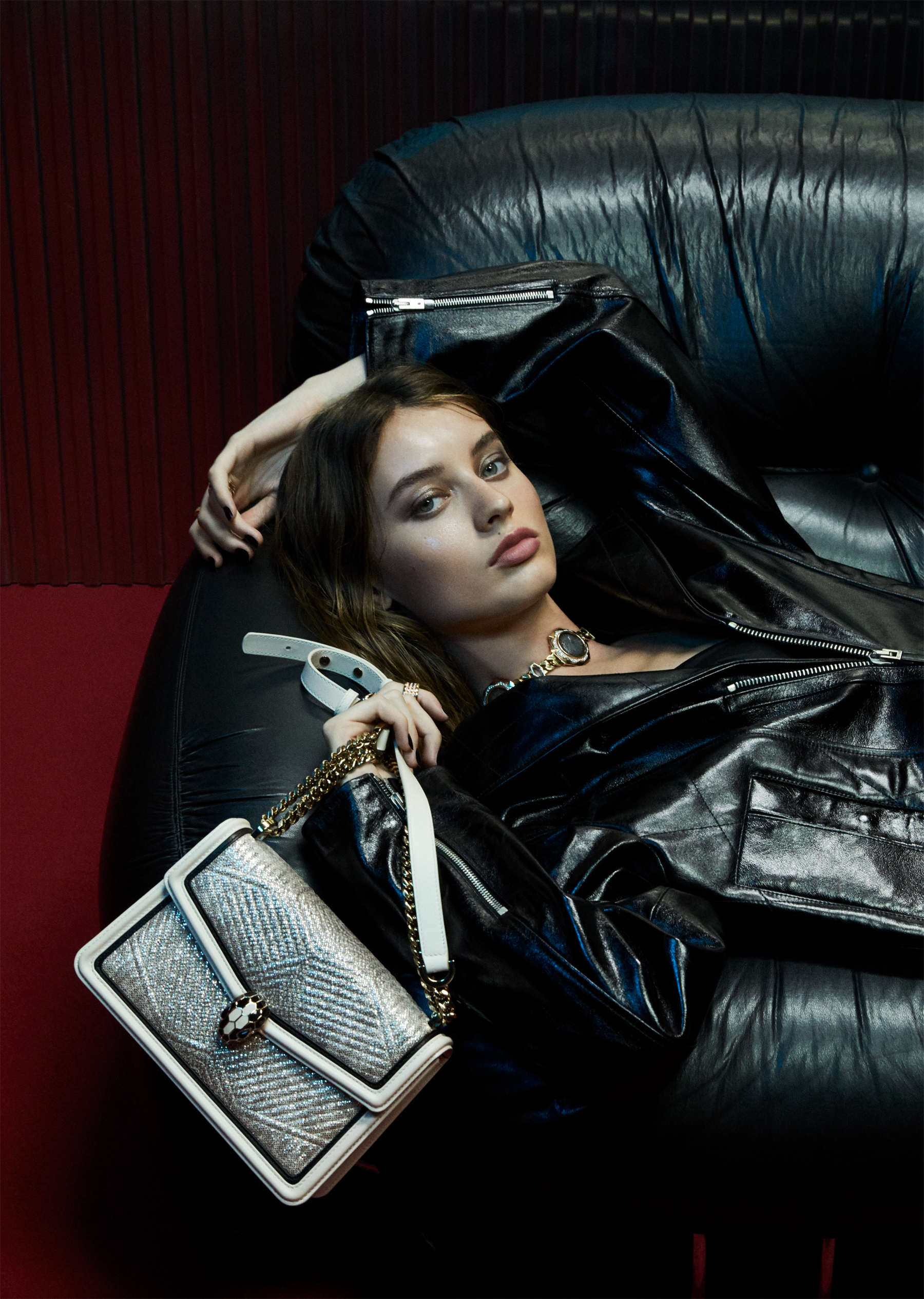 """Serpenti Diamond Blast"" shoulder bag in white agate quilted metallic karung skin and white agate calf leather frames. Iconic snakehead closure in light gold plated brass enriched with black and white agate enamel and black onyx eyes. 289045 image 6"