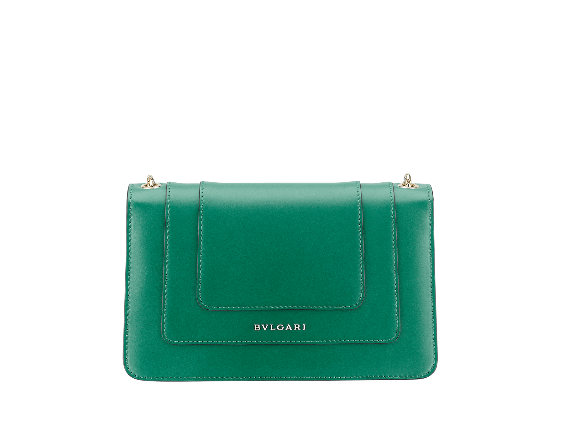 Shoulder bag in Serpenti Forever emerald green calf leather with brass light gold plated Serpenti head closure in black and white enamel with eyes in malachite. 38065 image 3