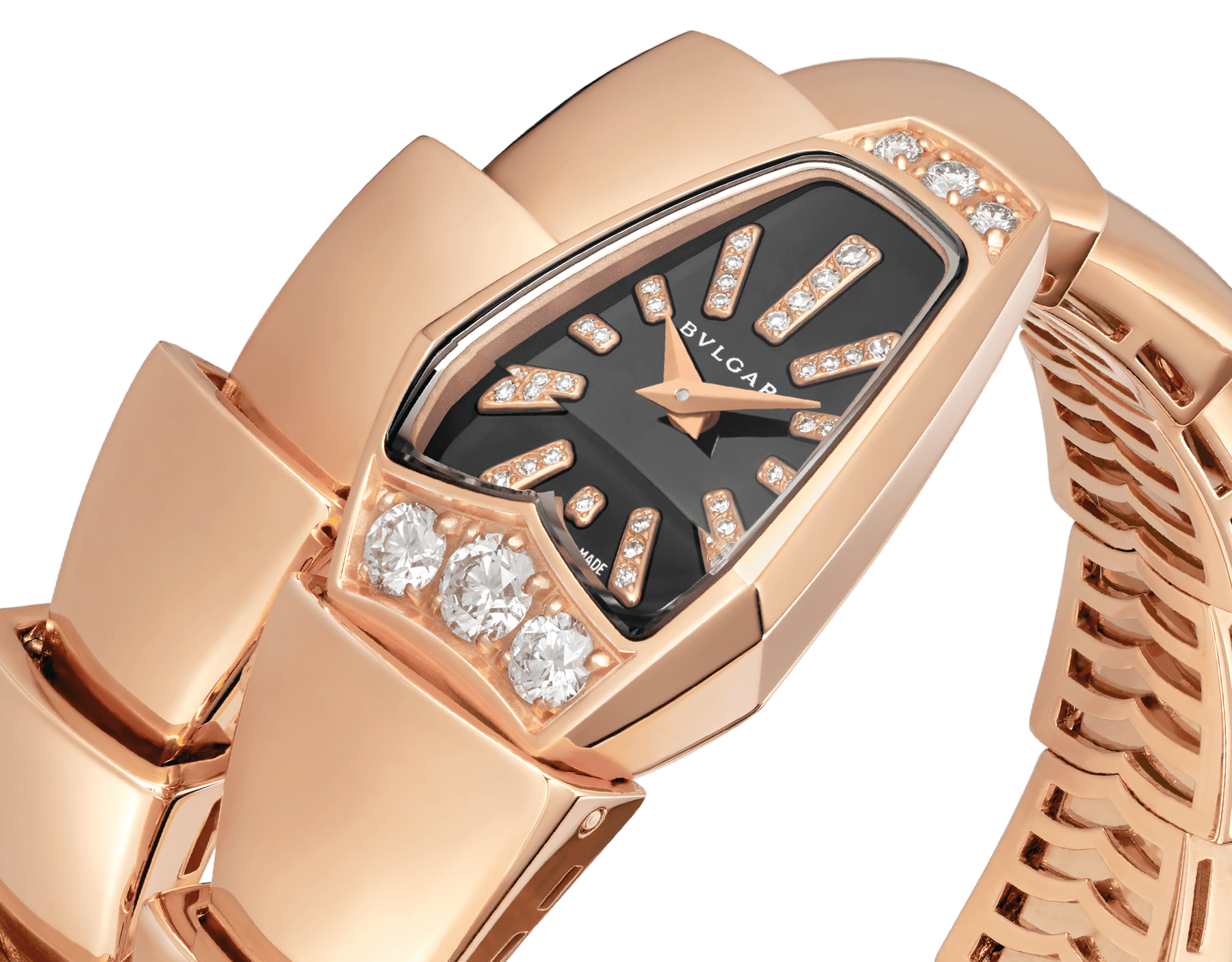Serpenti Jewellery Watch with 18 kt rose gold case set with brilliant cut diamonds, black sapphire crystal dial, diamond indexes and 18 kt rose gold single spiral bracelet. 101788 image 2