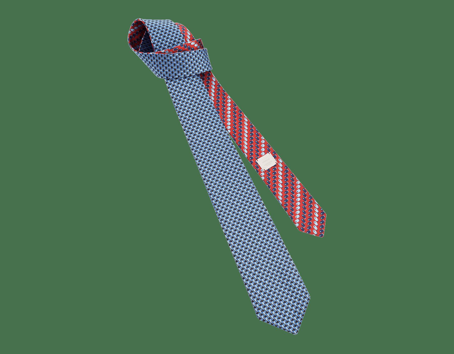 「Double Click」柄があしらわれたブルーのタイ。上質なシルク製。 244108 image 1