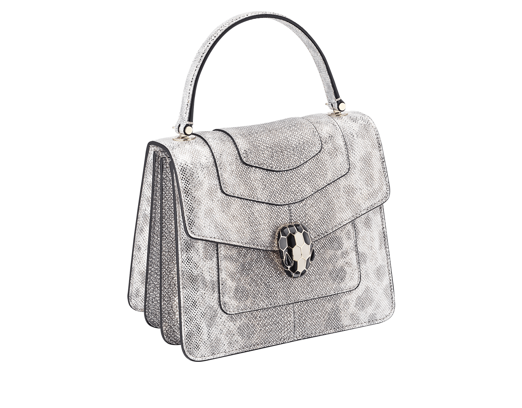 """Serpenti Forever "" crossbody bag in white agate metallic karung skin. Iconic snakehead closure in light gold plated brass enriched with black and white agate enamel and black onyx eyes. 288862 image 2"