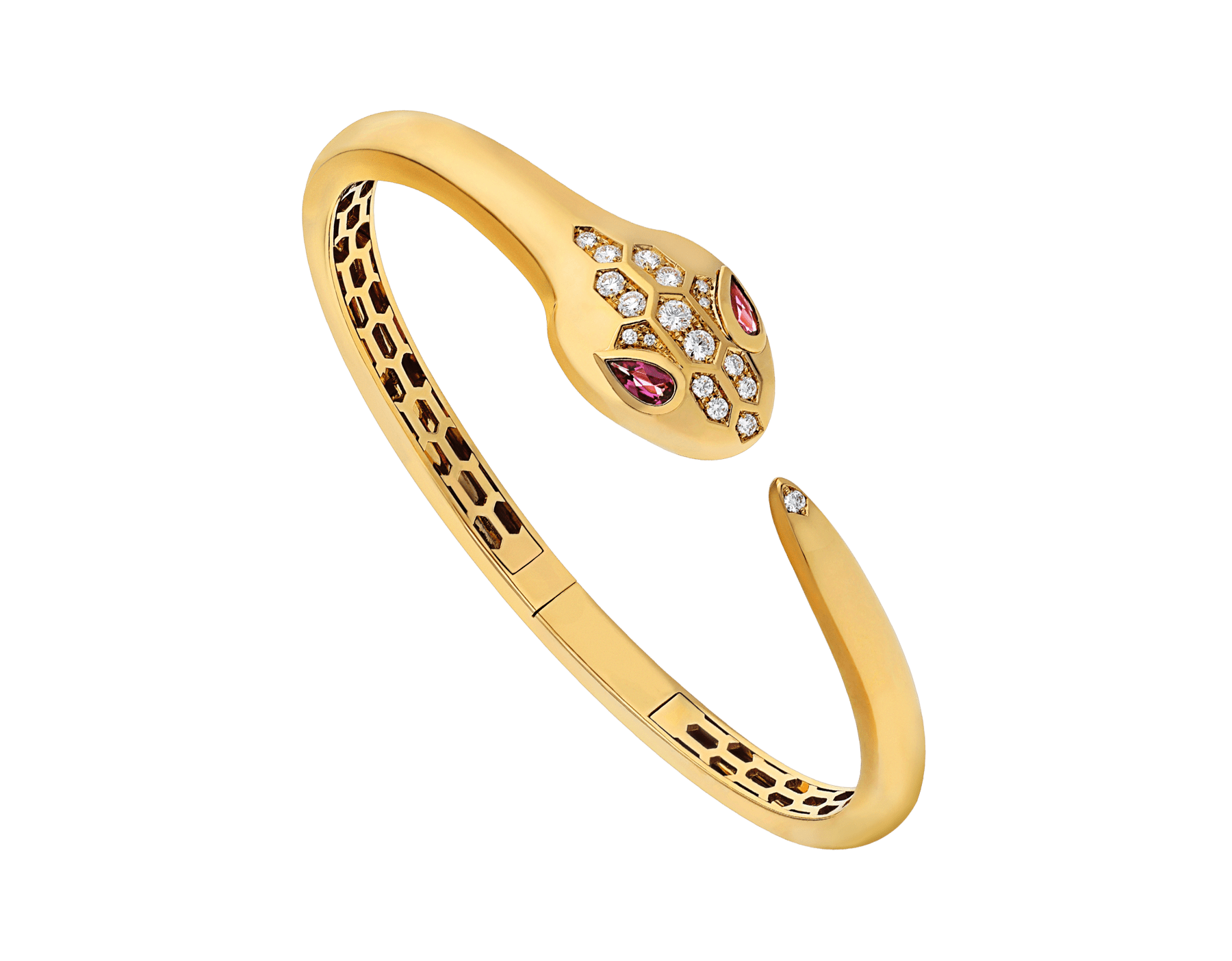 Serpenti 18 kt yellow gold bracelet set with rubellite eyes and demi pavé diamonds on the head and the tail BR858986 image 1
