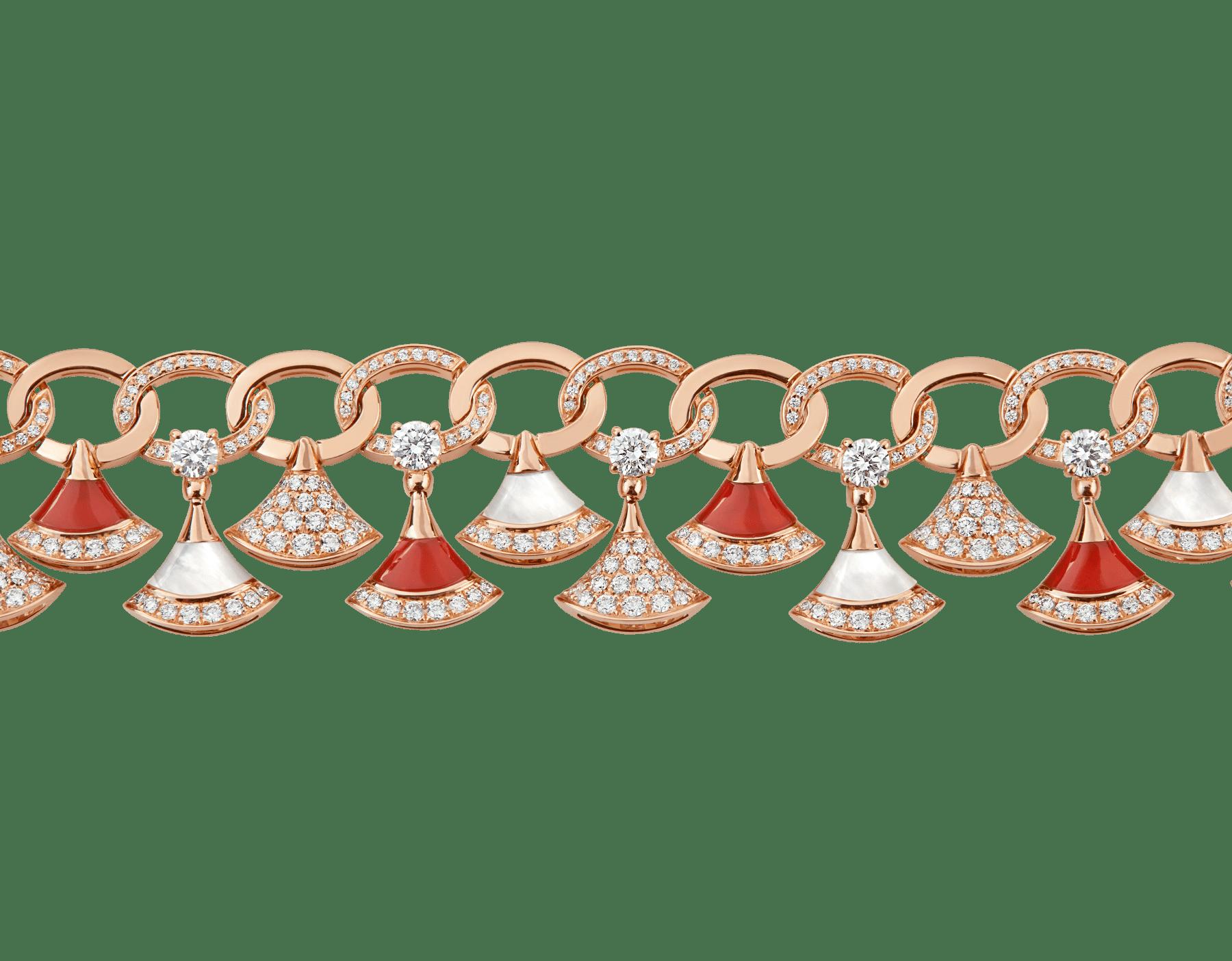 Pulsera DIVAS' DREAM en oro rosa de 18 qt con elementos de cornalina y madreperla, diamantes y pavé de diamantes (4,30 ct). BR858051 image 3