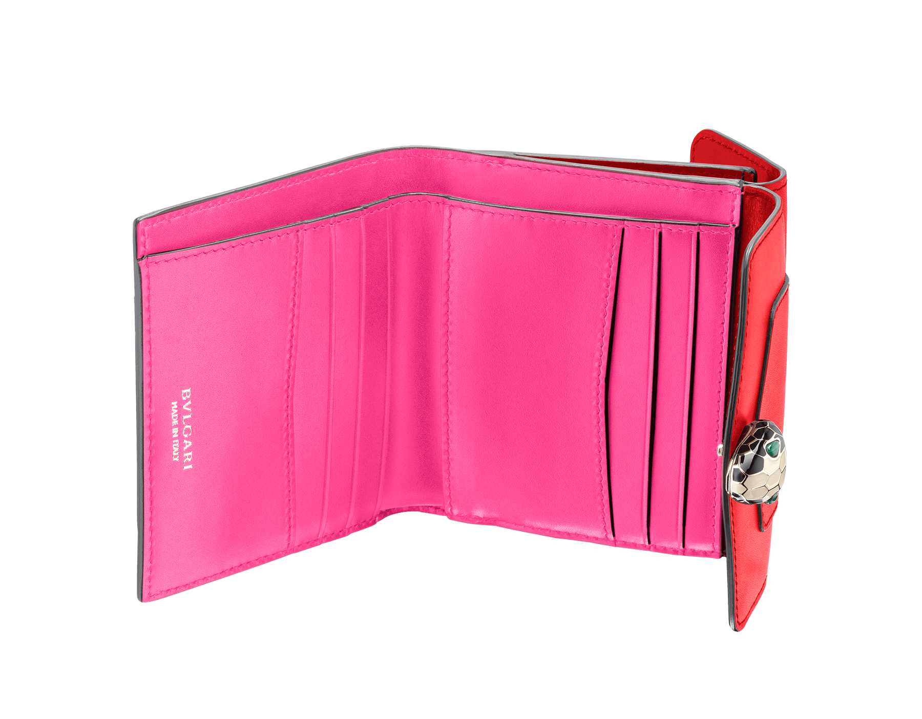 Serpenti Forever square compact wallet in sea star coral and pink spinel calf leather. Iconic snakehead charm in black and white enamel with green malachite eyes. 288006 image 2
