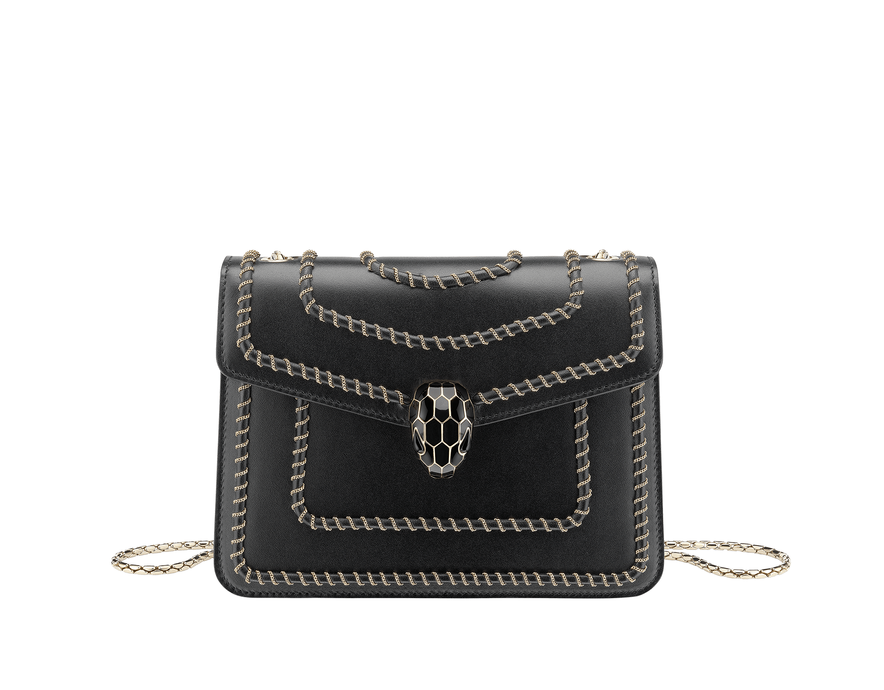 "Borsa a tracolla ""Serpenti Forever"" in vitello nero con motivo Woven Chain. Iconica chiusura Serpenti in ottone placcato oro chiaro e smalto lucido nero con occhi in onice nera. 422-WC image 1"