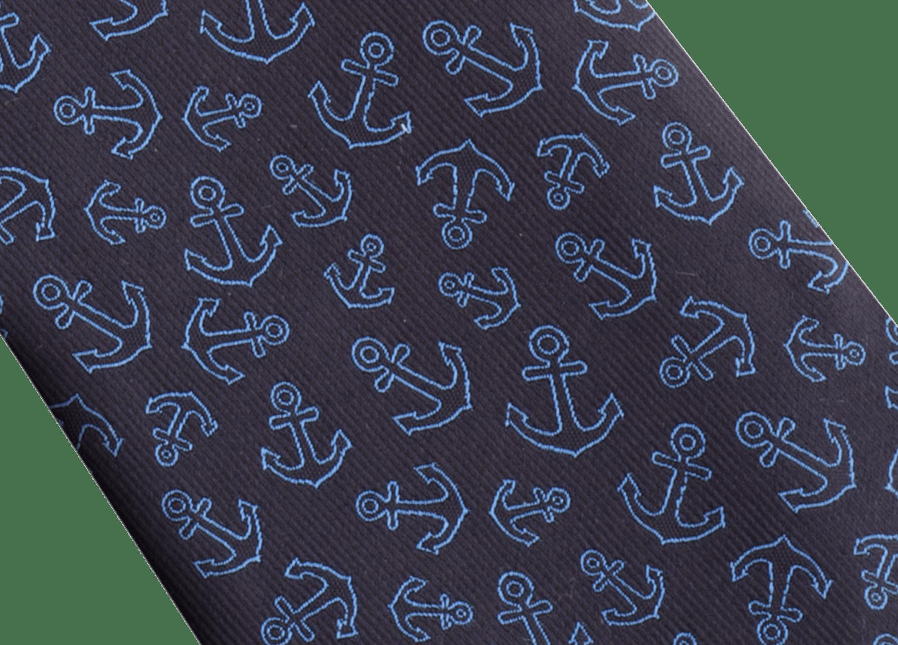 Галстук синего цвета, тонкий шелк, узор Double Cruise. 244113 image 2