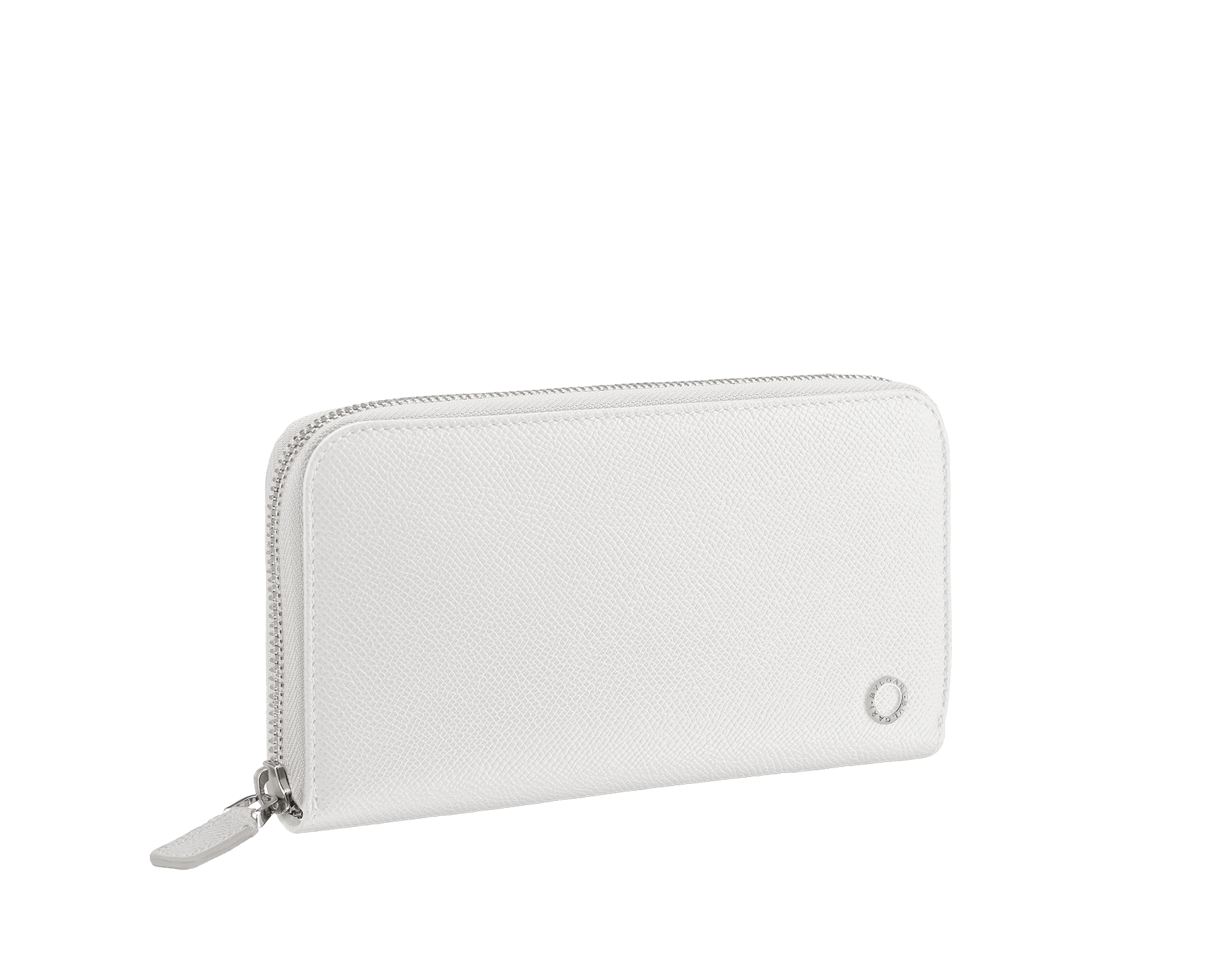 BVLGARI BVLGARI man zipped wallet in white agate and pluto stone grain calf leather and iron stone nappa lining. Iconic logo décor in palladium plated brass. 288255 image 1