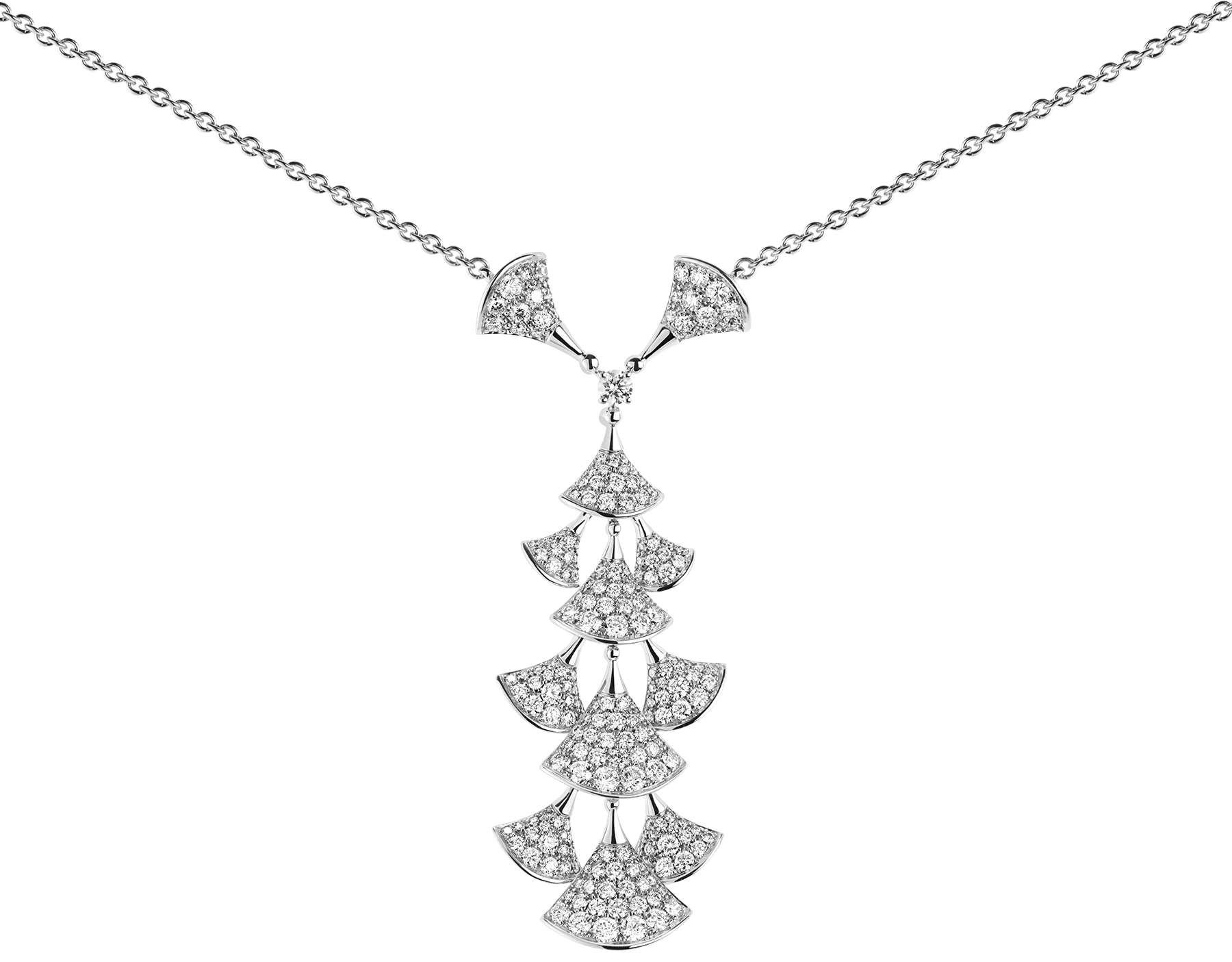 DIVAS' DREAM 18 kt white gold necklace set with diamonds and full pavé diamonds. 352608 image 3