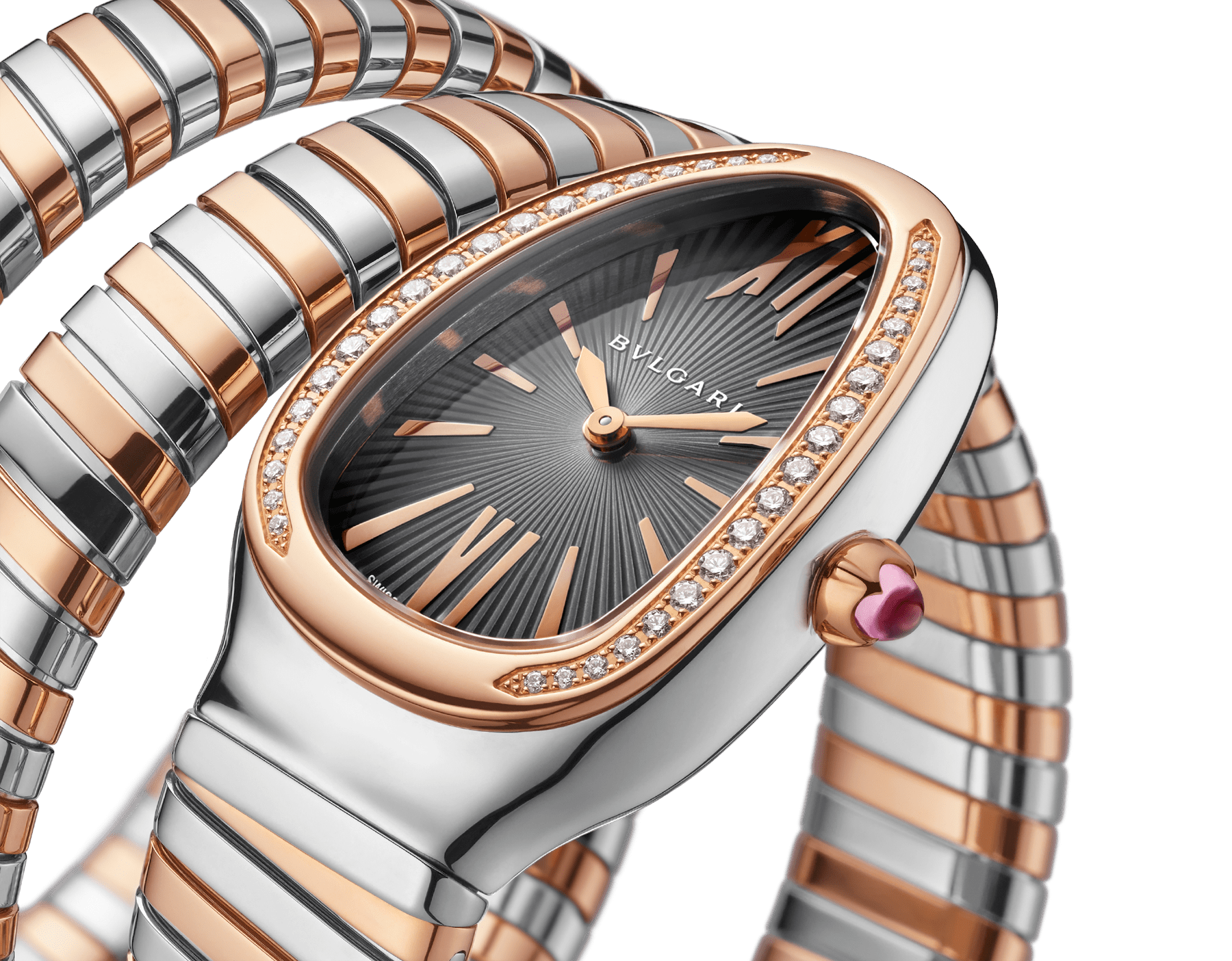 Serpenti Tubogas double spiral watch with stainless steel case, 18 kt rose gold bezel set with brilliant cut diamonds, grey lacquered dial, 18 kt rose gold and stainless steel bracelet. 102680 image 3