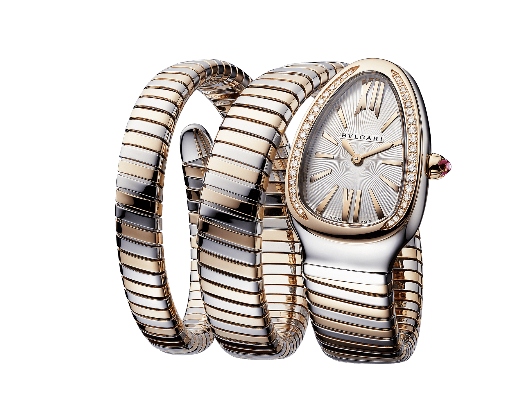 Serpenti Tubogas double spiral watch with stainless steel case, 18 kt rose gold bezel set with diamonds, silver opaline dial with guilloché soleil treatment, stainless steel and 18 kt rose gold bracelet 103149 image 2