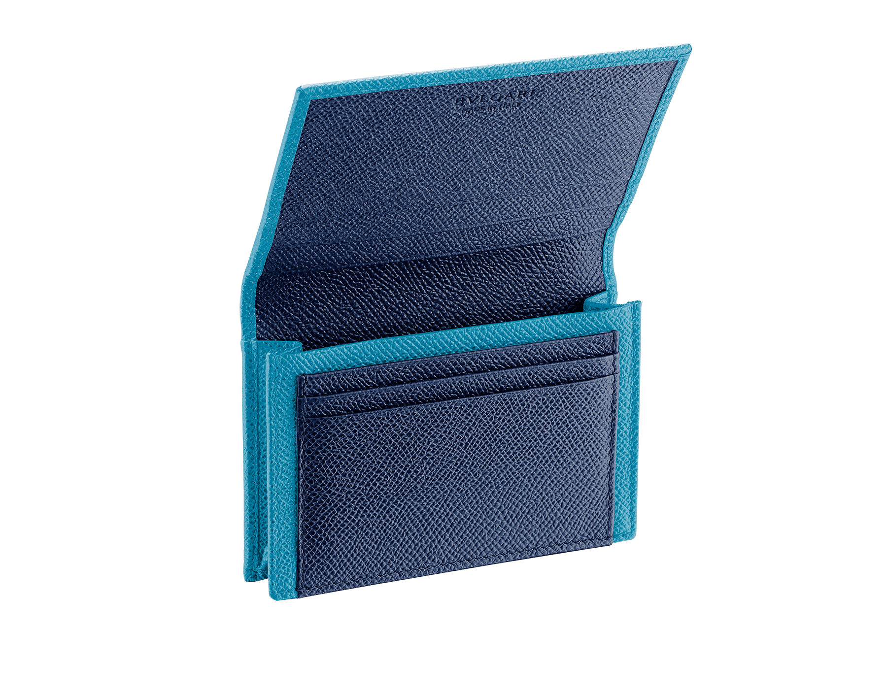 """""""BVLGARI BVLGARI"""" business card holder in capri turquoise and royal sapphire grain calf leather, with brass palladium plated logo décor. BBM-BC-HOLD-SIMPLEb image 2"""