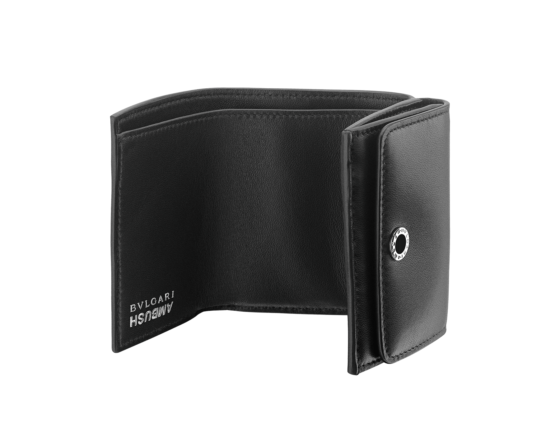 """Ambush x Bvlgari"" mini compact wallet in bright blue nappa leather. Palladium plated brass ""BVLGARI AMBUSH"" décor enameled in black on one side and special ""BVLGARI AMBUSH"" logo print on the other. Limited edition. YA-MINICOMPACT image 2"