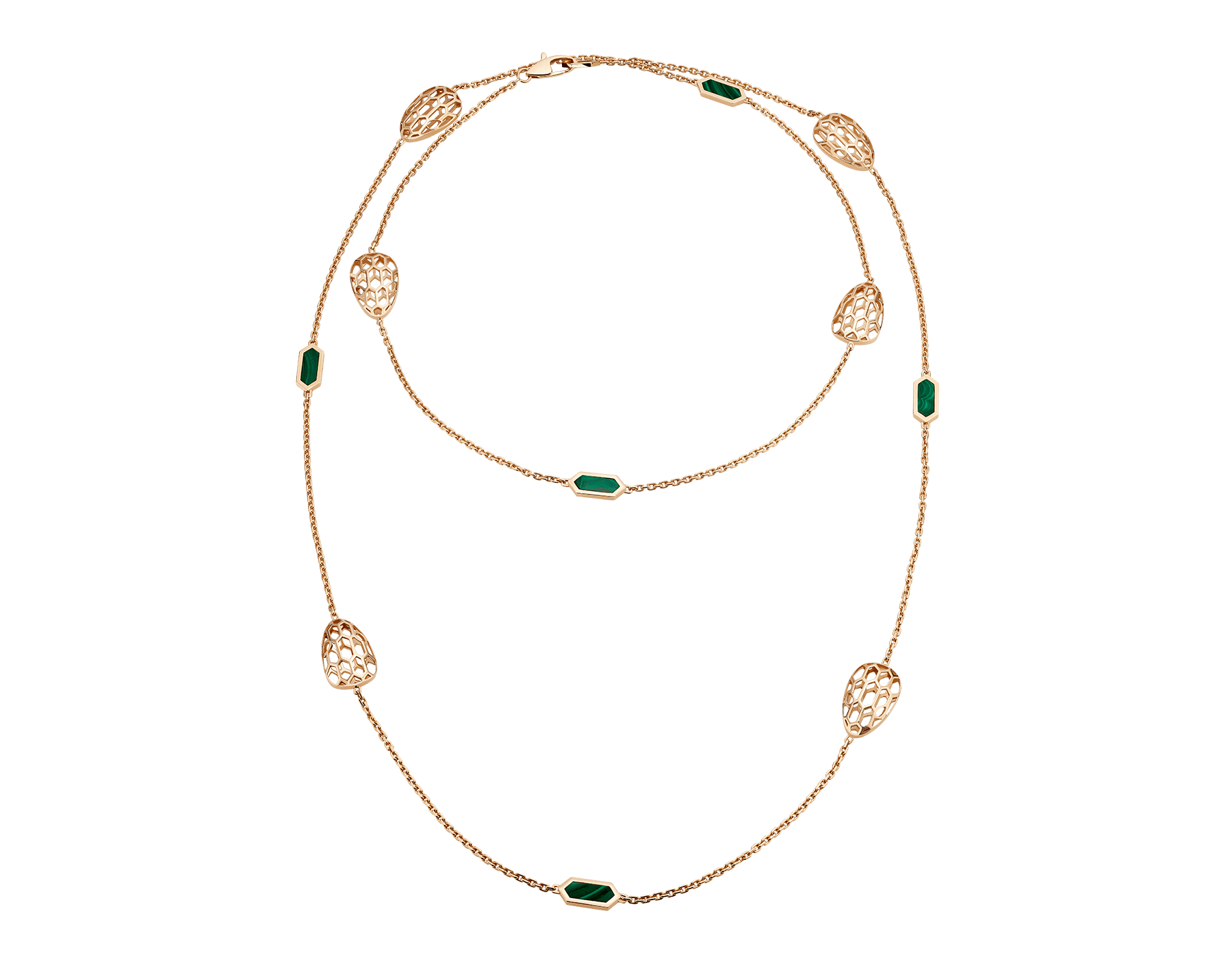 Serpenti sautoir in 18 kt rose gold set with malachite elements. 352677 image 1