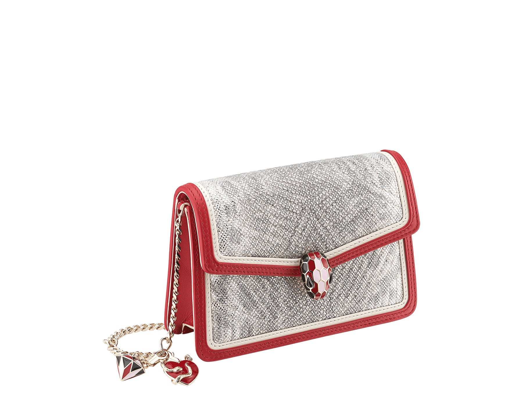 Serpenti Diamond Blast crossbody micro bag in white agate quilted metallic karung skin body and carmine jasper and white agate calf leather frames. Snakehead closure in light gold plated brass with black, carmine jasper and rosa di Francia enamel, black onyx eyes, heart-shaped and three-dimensional diamond-shaped detachable charms. 289550 image 2