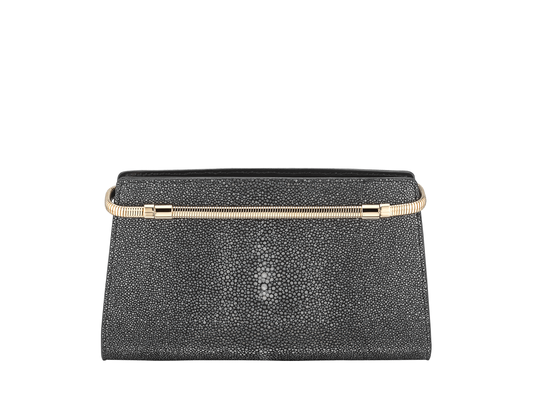 Serpenti Tubogas clutch in black galuchat skin and calf leather. Brass light rose gold plated snake body-shaped frame closure with black enamel. 526-001-0671S image 3