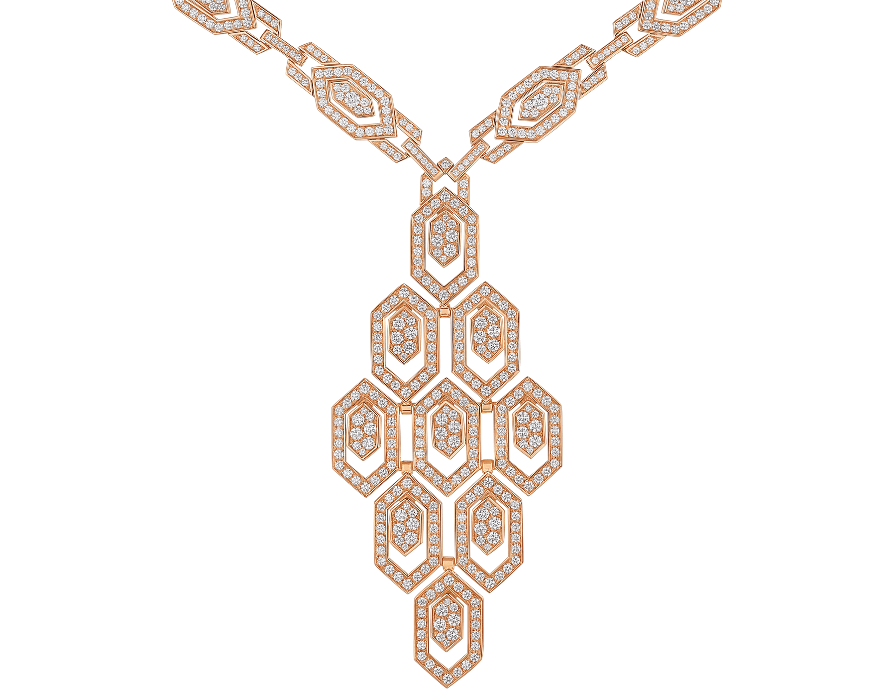 Serpenti 18 kt rose gold necklace set with pavé diamonds both on the chain and pendant. 356194 image 3