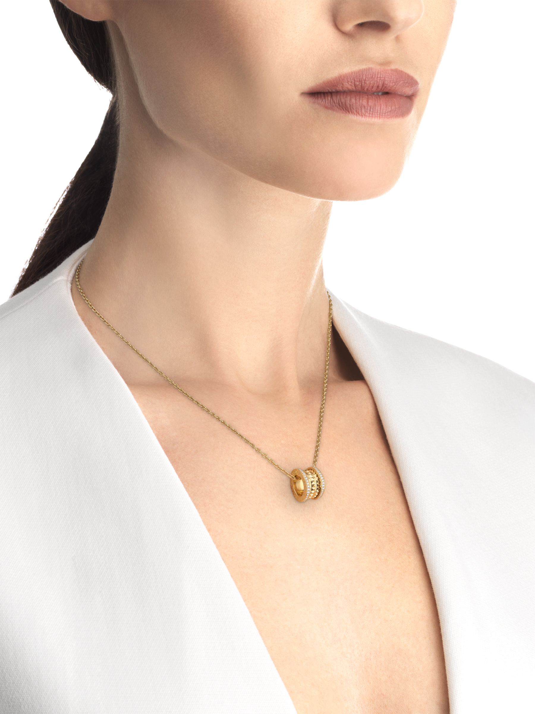 B.zero1 Rock necklace with 18 kt yellow gold pendant with studded spiral, pavé diamonds on the edges and 18 kt yellow gold chain 357885 image 4