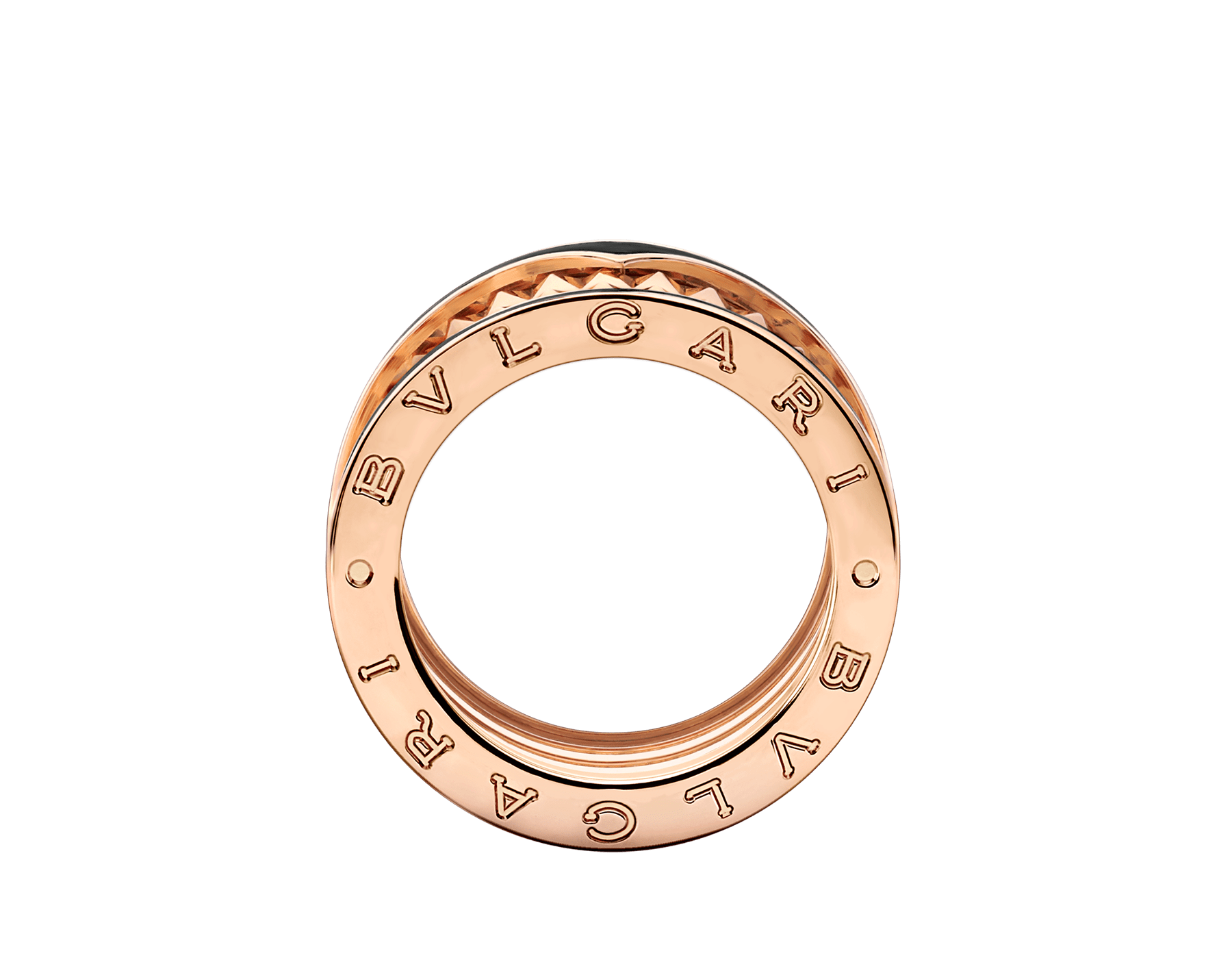 B.zero1 Rock four-band ring in 18 kt rose gold with studded spiral and black ceramic inserts on the edges. AN859089 image 2