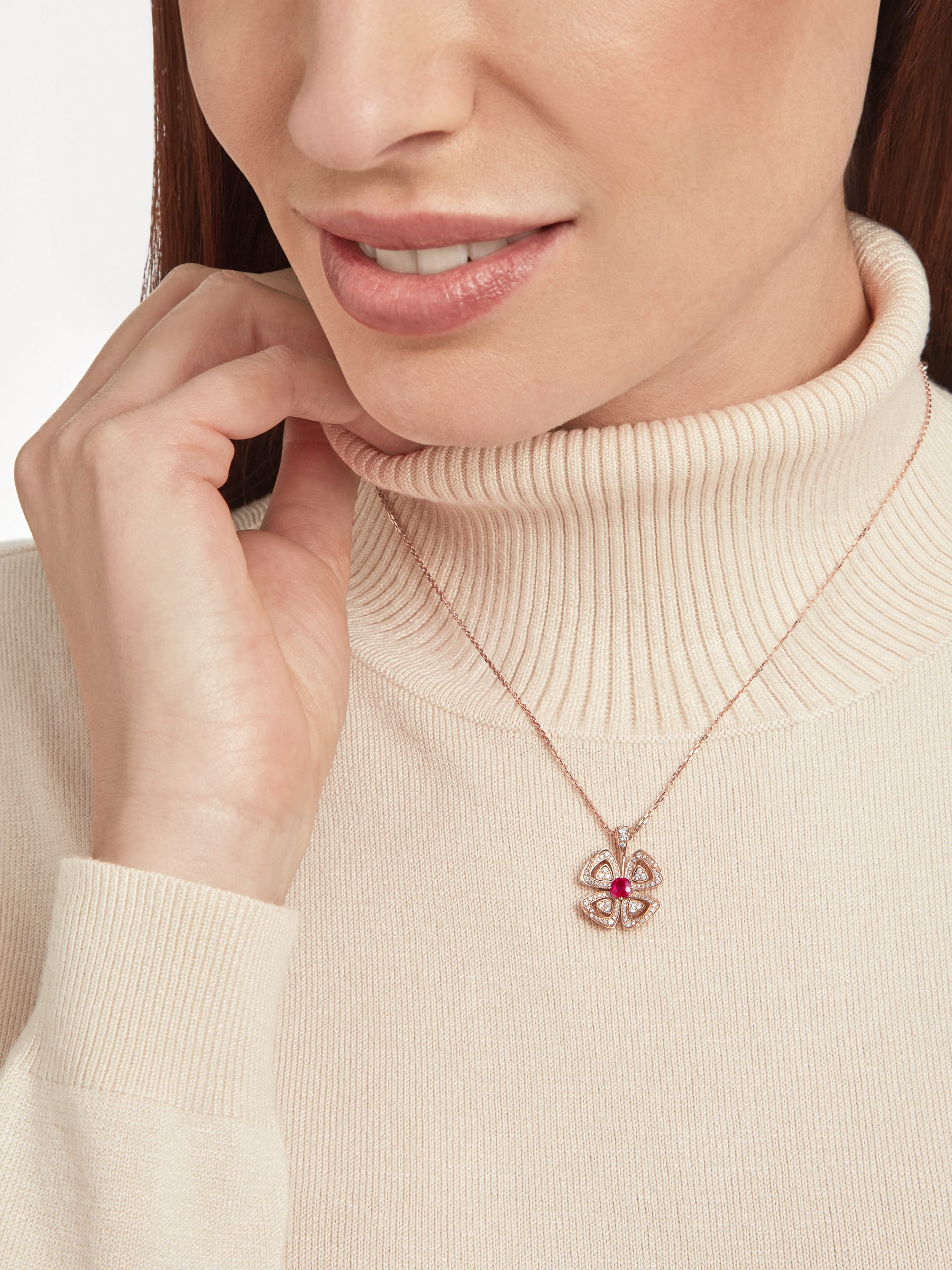 Fiorever 18 kt rose gold pendant necklace set with a central brilliant-cut ruby (0.35 ct) and pavé diamonds (0.31 ct) 358428 image 5