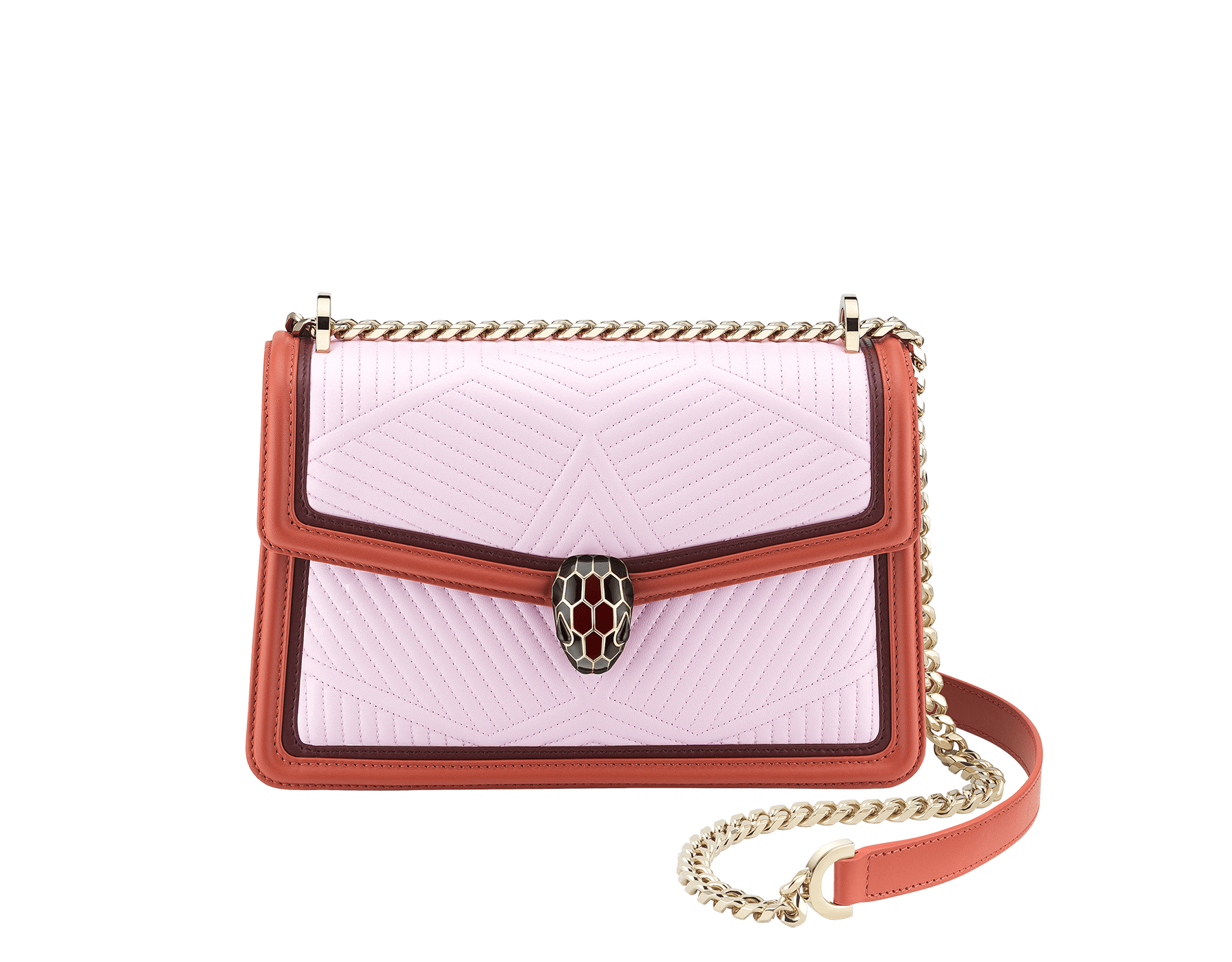 Serpenti Diamond Blast shoulder bag with rosa di francia quilted nappa leather body and imperial topaz and Roman garnet calf leather frames. Iconic snakehead closure in light gold plated brass embellished with Roman garnet and black enamel and black onyx eyes. 288829 image 1