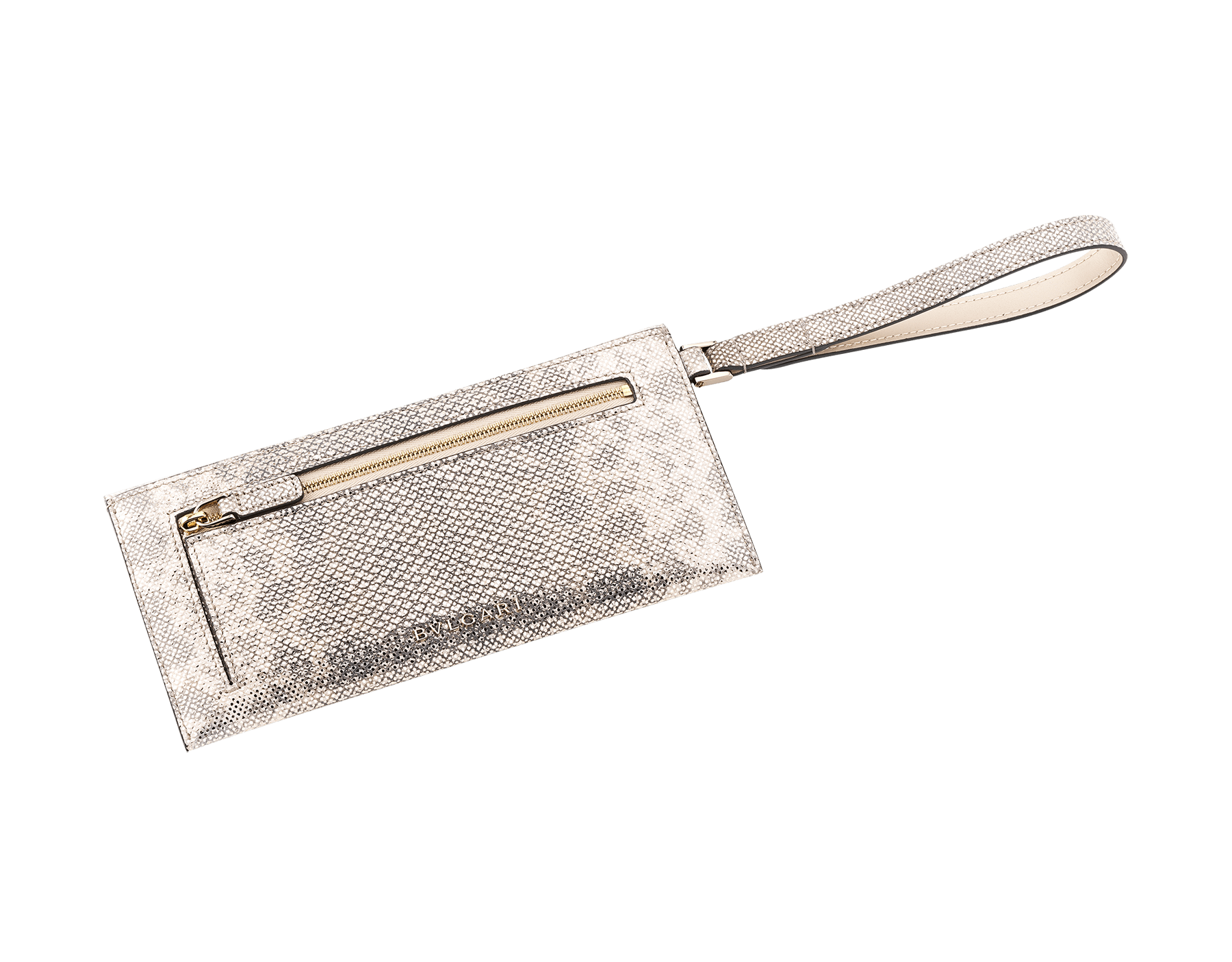 Serpenti Forever envelope case in milky opal metallic karung skin and milky opal calf leather. Iconic snakehead stud closure in black and glitter milky opal enamel, with black onyx eyes. SEA-ENVELOPE-MK image 3